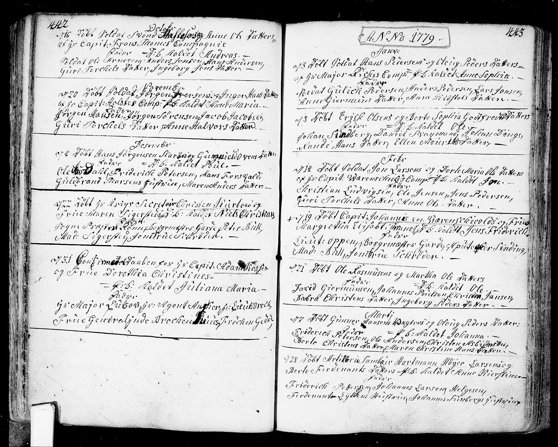 SAO, Fredrikstad prestekontor Kirkebøker, F/Fa/L0002: Ministerialbok nr. 2, 1750-1804, s. 442-443