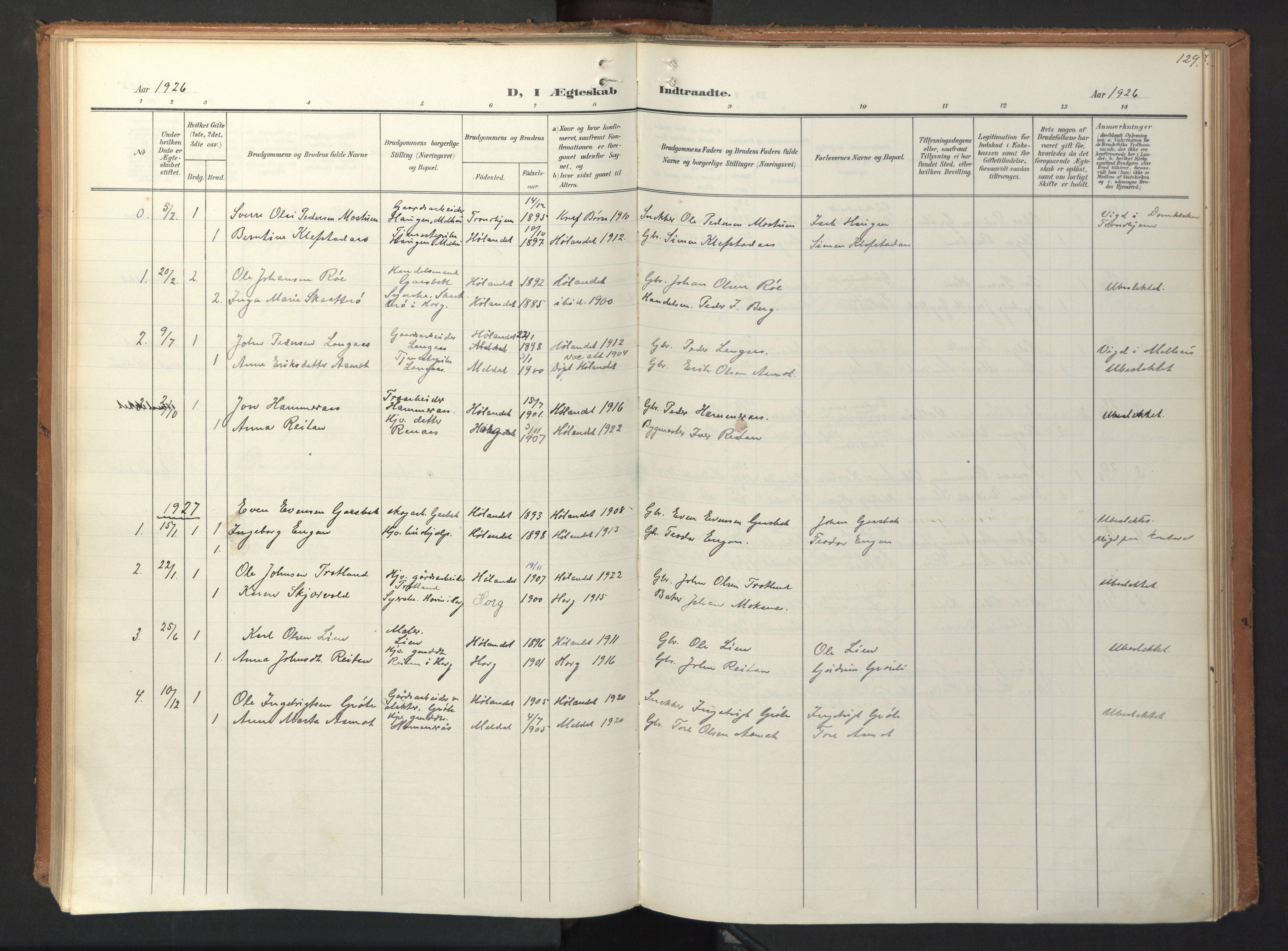 SAT, Ministerialprotokoller, klokkerbøker og fødselsregistre - Sør-Trøndelag, 694/L1128: Ministerialbok nr. 694A02, 1906-1931, s. 129