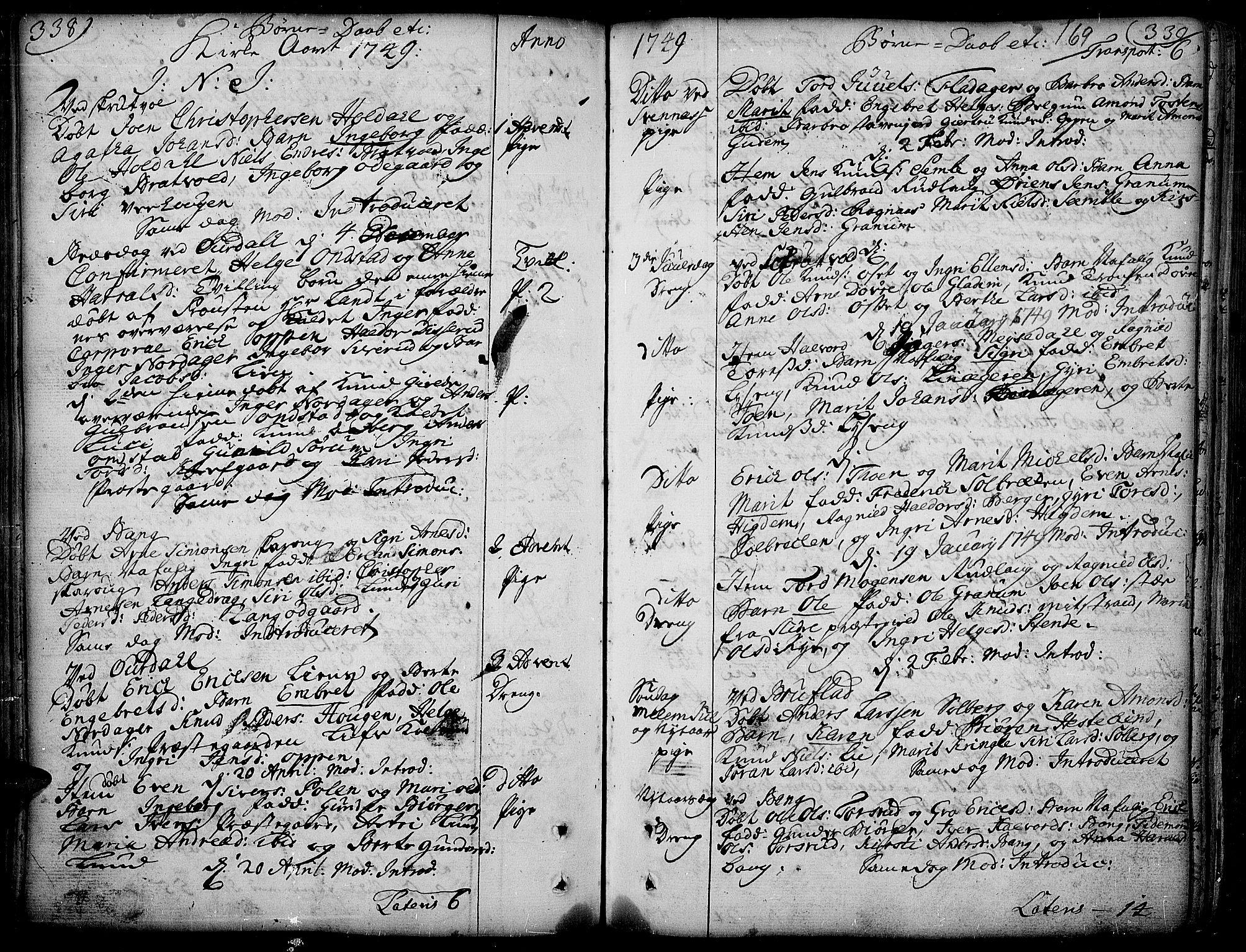 SAH, Aurdal prestekontor, Ministerialbok nr. 4, 1730-1762, s. 338-339