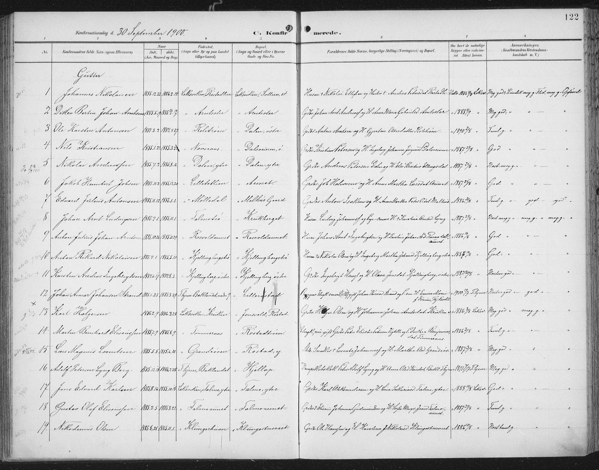 SAT, Ministerialprotokoller, klokkerbøker og fødselsregistre - Nord-Trøndelag, 701/L0011: Ministerialbok nr. 701A11, 1899-1915, s. 122