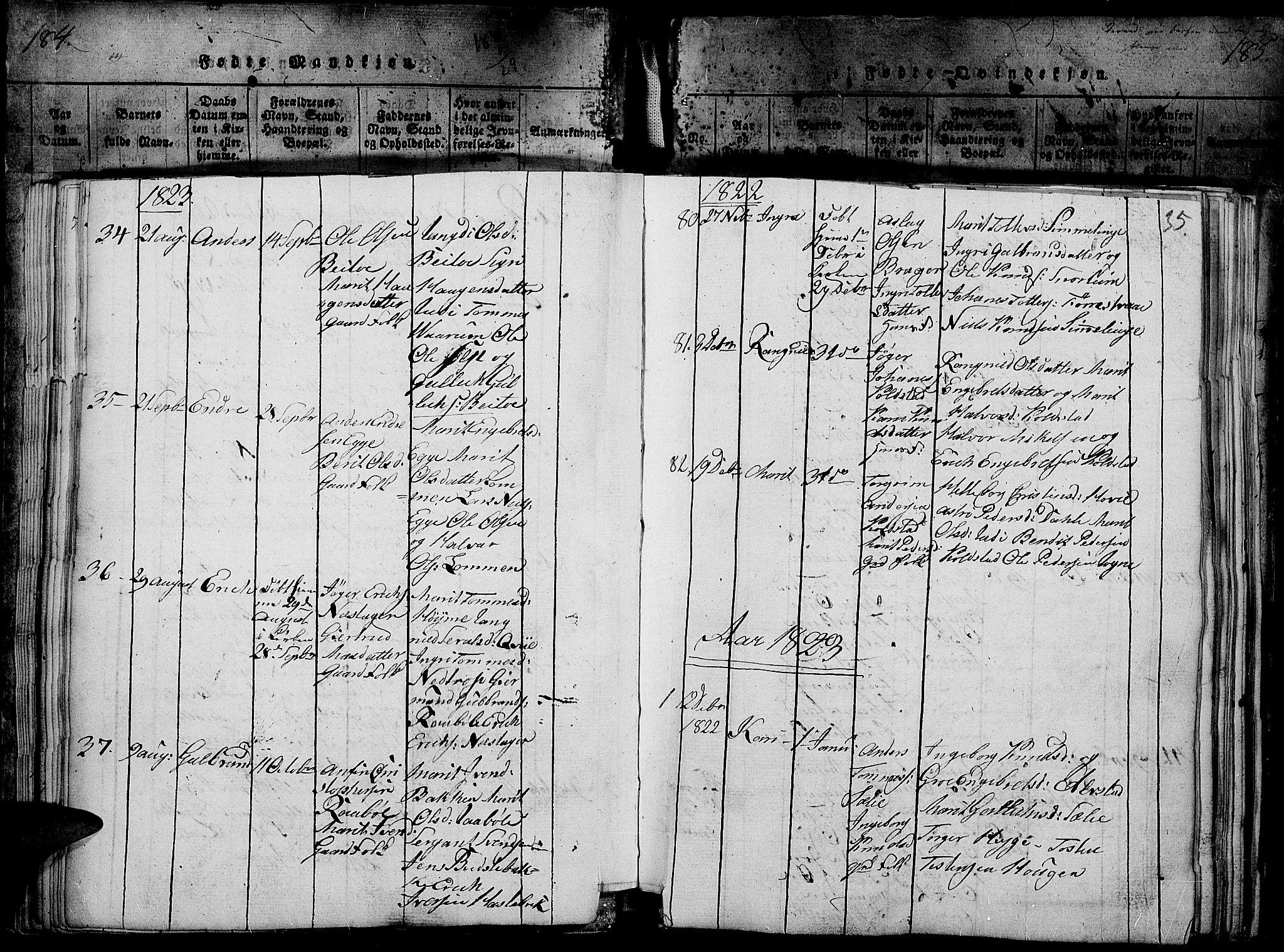 SAH, Slidre prestekontor, Ministerialbok nr. 2, 1814-1830, s. 185i