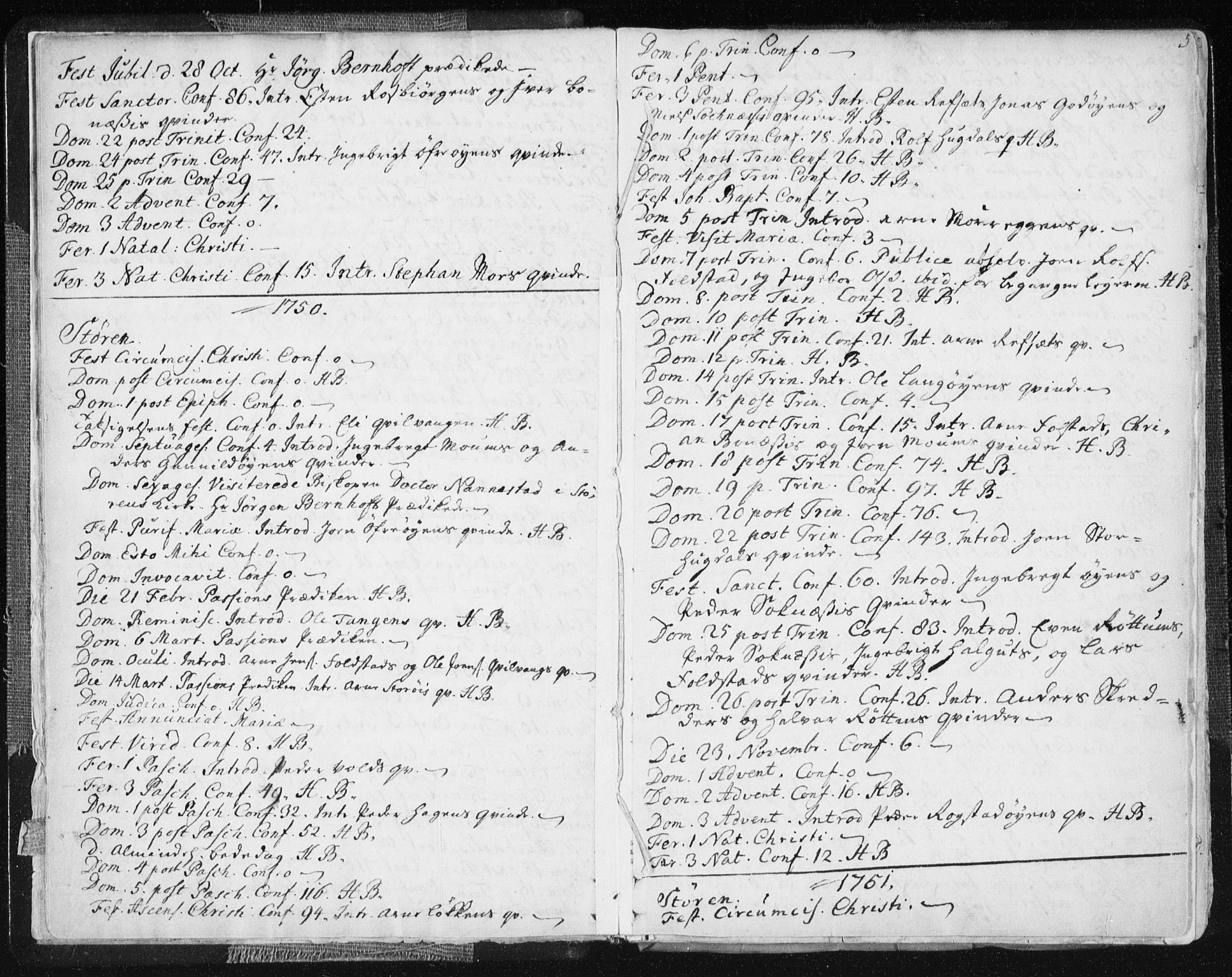 SAT, Ministerialprotokoller, klokkerbøker og fødselsregistre - Sør-Trøndelag, 687/L0991: Ministerialbok nr. 687A02, 1747-1790, s. 5