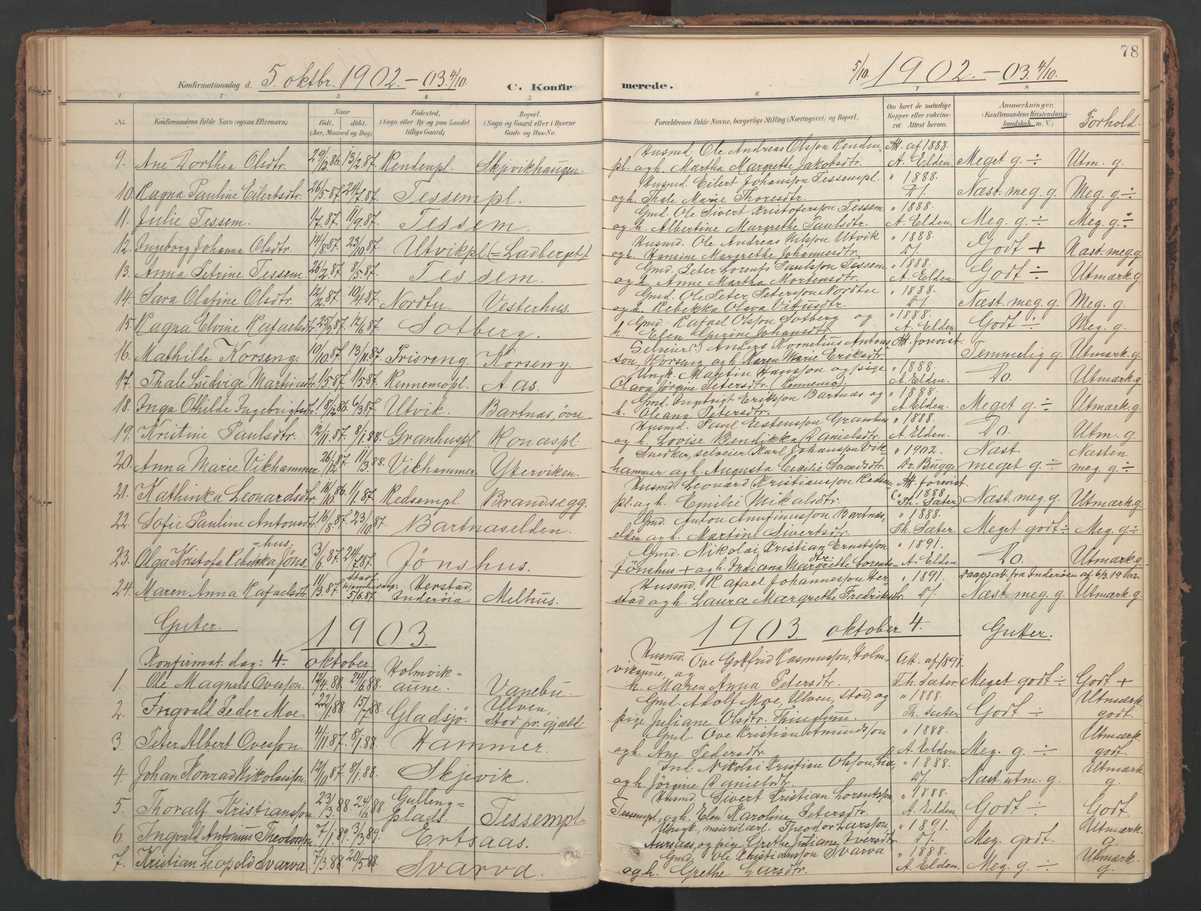 SAT, Ministerialprotokoller, klokkerbøker og fødselsregistre - Nord-Trøndelag, 741/L0397: Ministerialbok nr. 741A11, 1901-1911, s. 78