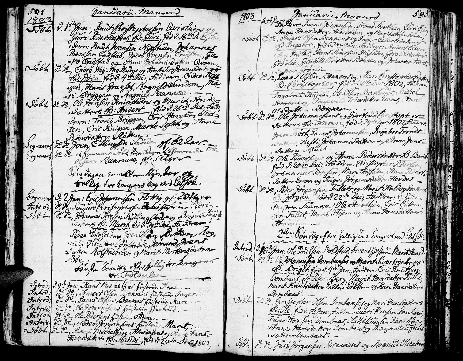 SAH, Lesja prestekontor, Ministerialbok nr. 3, 1777-1819, s. 594-595