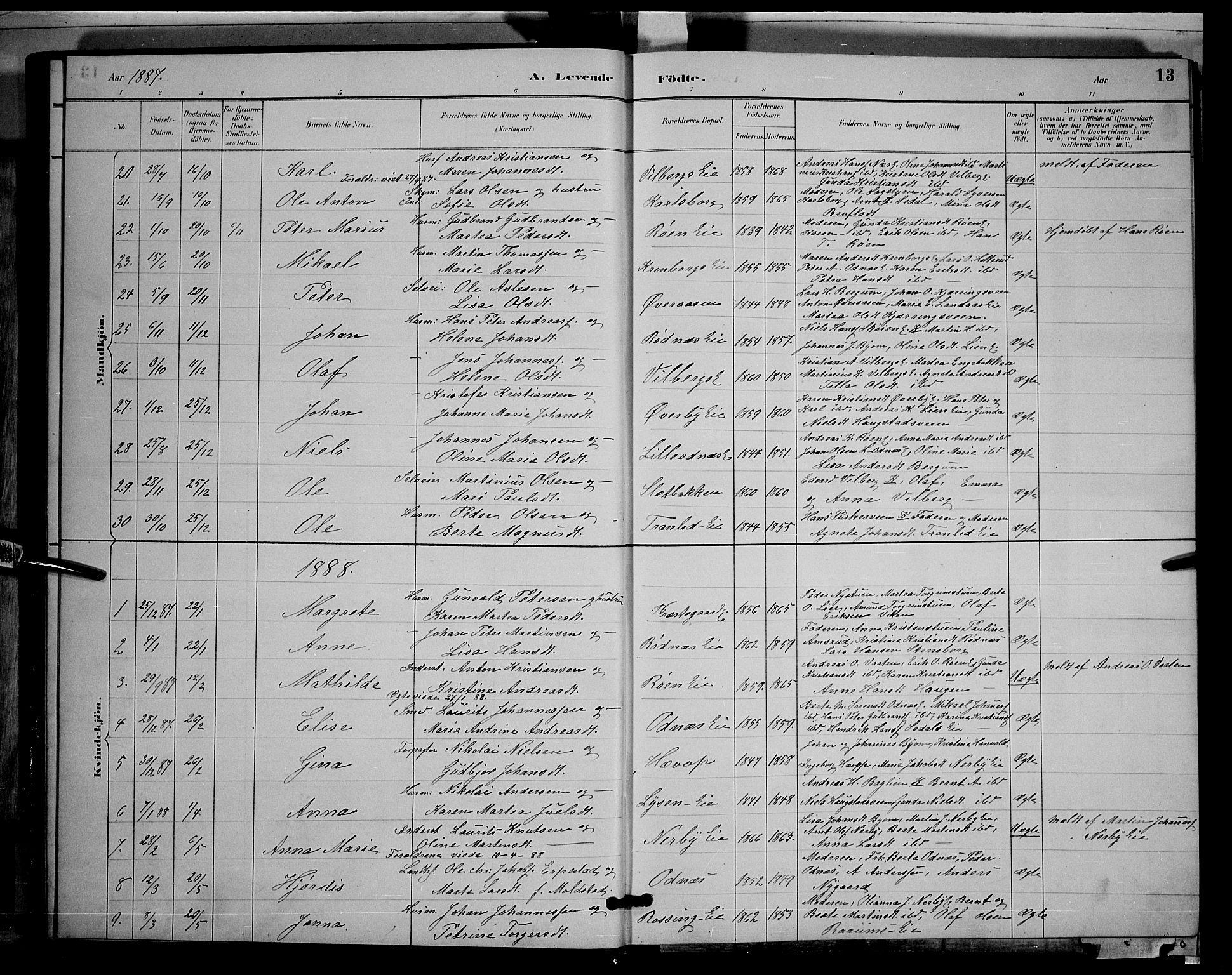 SAH, Søndre Land prestekontor, L/L0003: Klokkerbok nr. 3, 1884-1902, s. 13