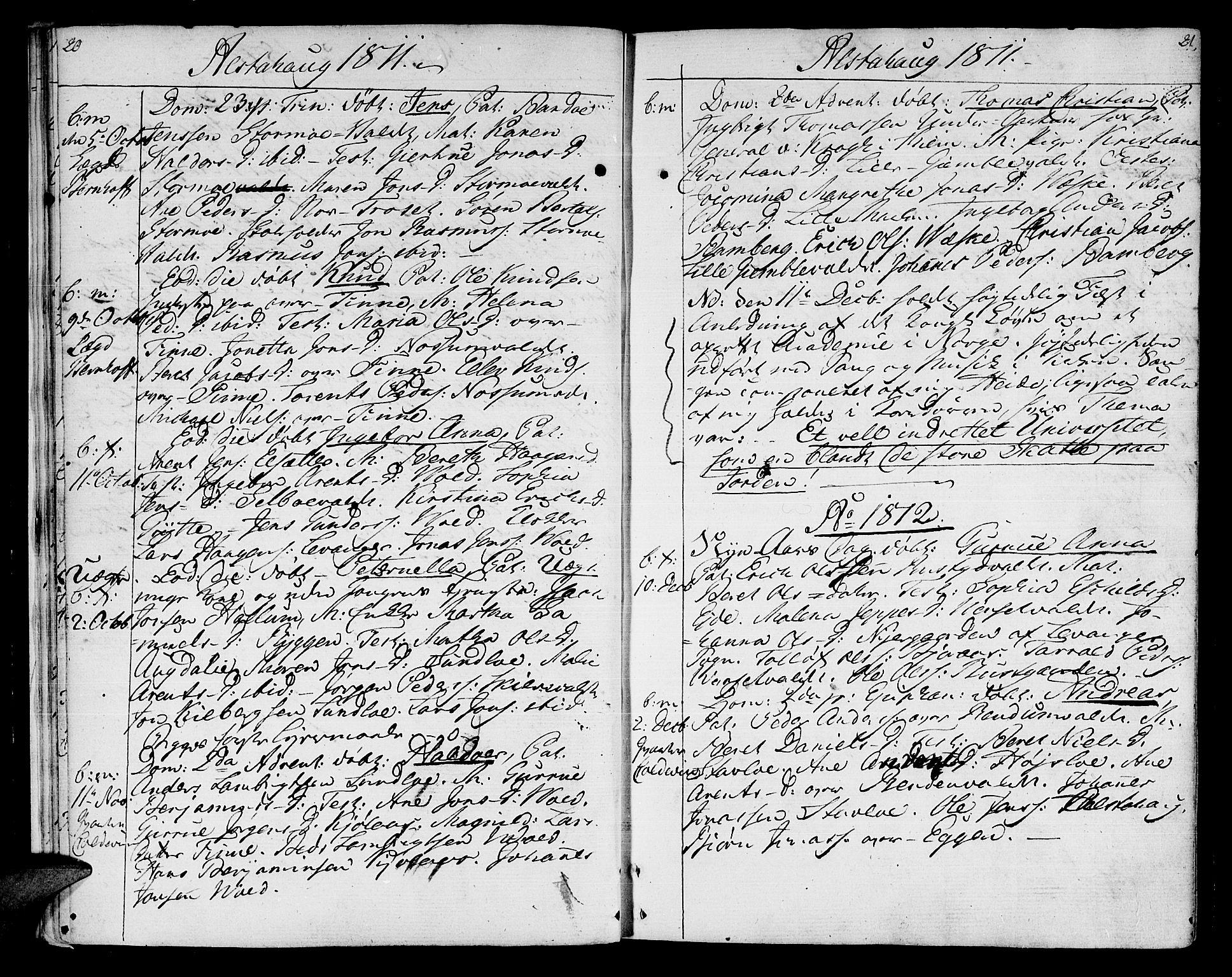 SAT, Ministerialprotokoller, klokkerbøker og fødselsregistre - Nord-Trøndelag, 717/L0145: Ministerialbok nr. 717A03 /1, 1810-1815, s. 20-21