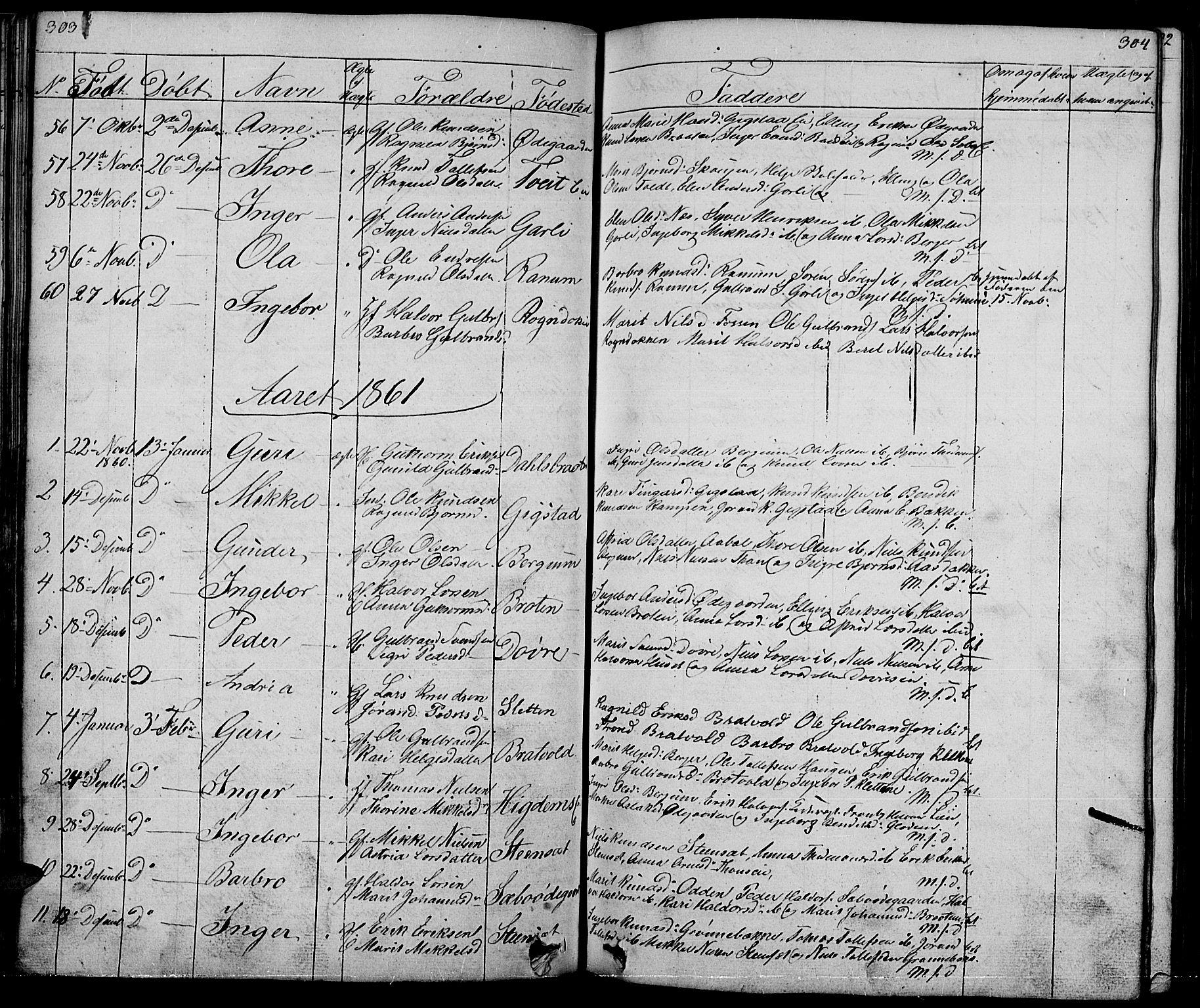 SAH, Nord-Aurdal prestekontor, Klokkerbok nr. 1, 1834-1887, s. 303-304