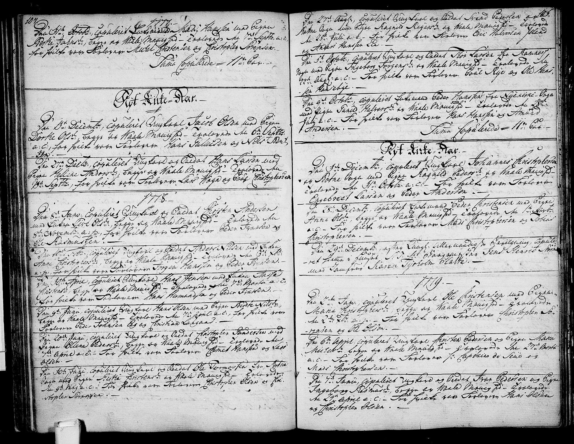 SAKO, Våle kirkebøker, F/Fa/L0005: Ministerialbok nr. I 5, 1773-1808, s. 104-105