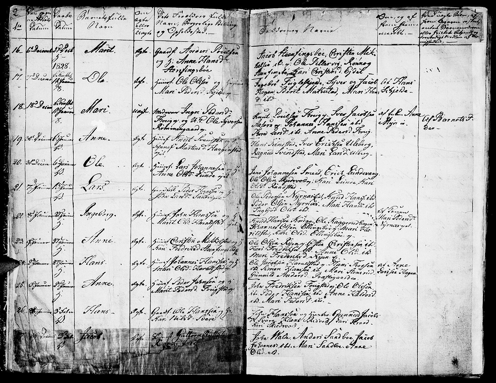 SAH, Vågå prestekontor, Ministerialbok nr. 4 /1, 1827-1842, s. 2