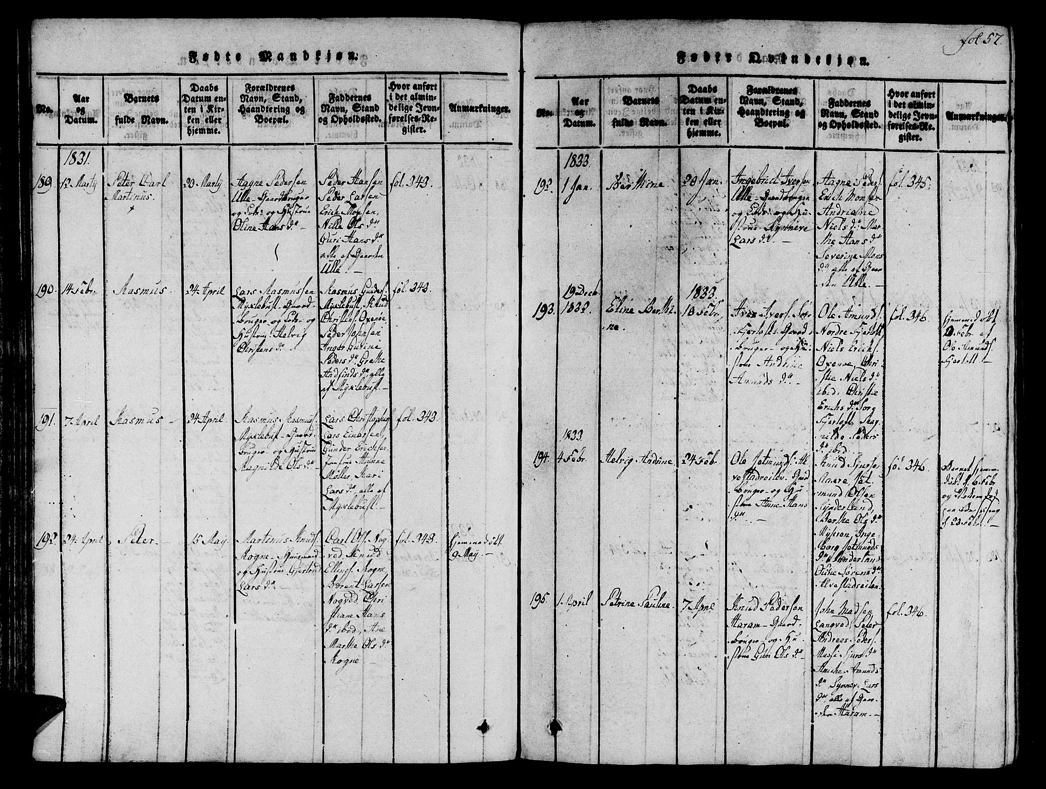 SAT, Ministerialprotokoller, klokkerbøker og fødselsregistre - Møre og Romsdal, 536/L0495: Ministerialbok nr. 536A04, 1818-1847, s. 57