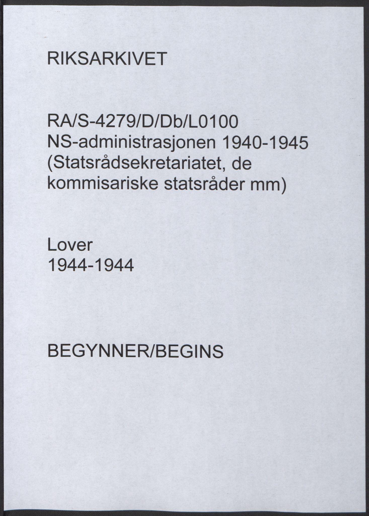 RA, NS-administrasjonen 1940-1945 (Statsrådsekretariatet, de kommisariske statsråder mm), D/Db/L0100: Lover, 1944, s. upaginert