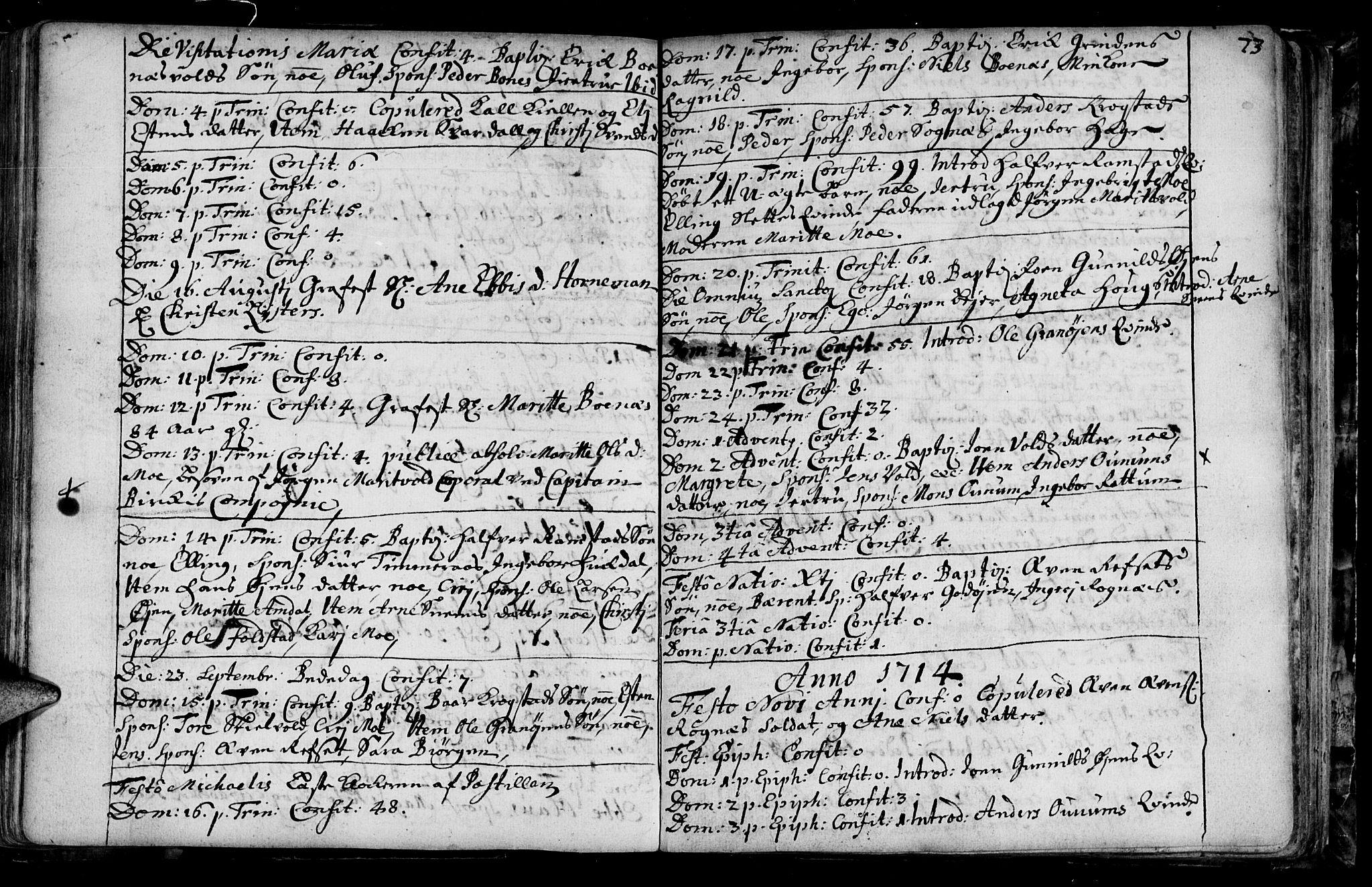 SAT, Ministerialprotokoller, klokkerbøker og fødselsregistre - Sør-Trøndelag, 687/L0990: Ministerialbok nr. 687A01, 1690-1746, s. 73