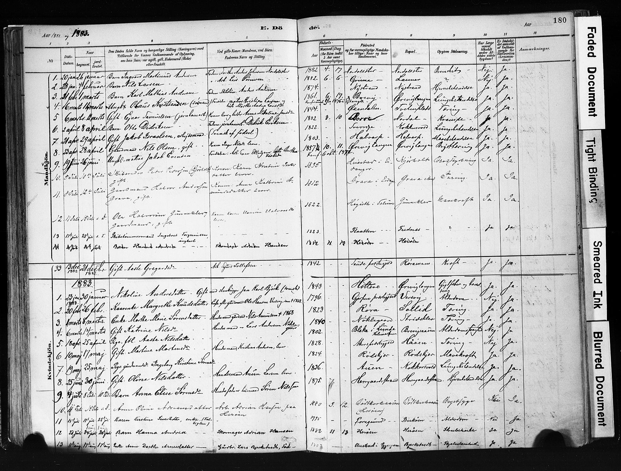 SAKO, Eidanger kirkebøker, F/Fa/L0012: Ministerialbok nr. 12, 1879-1900, s. 180