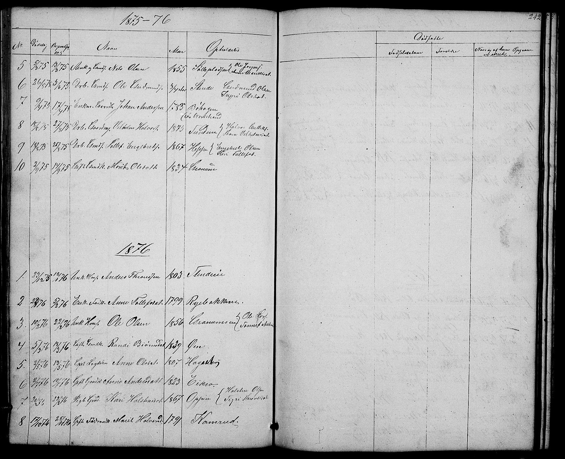 SAH, Nord-Aurdal prestekontor, Klokkerbok nr. 4, 1842-1882, s. 242