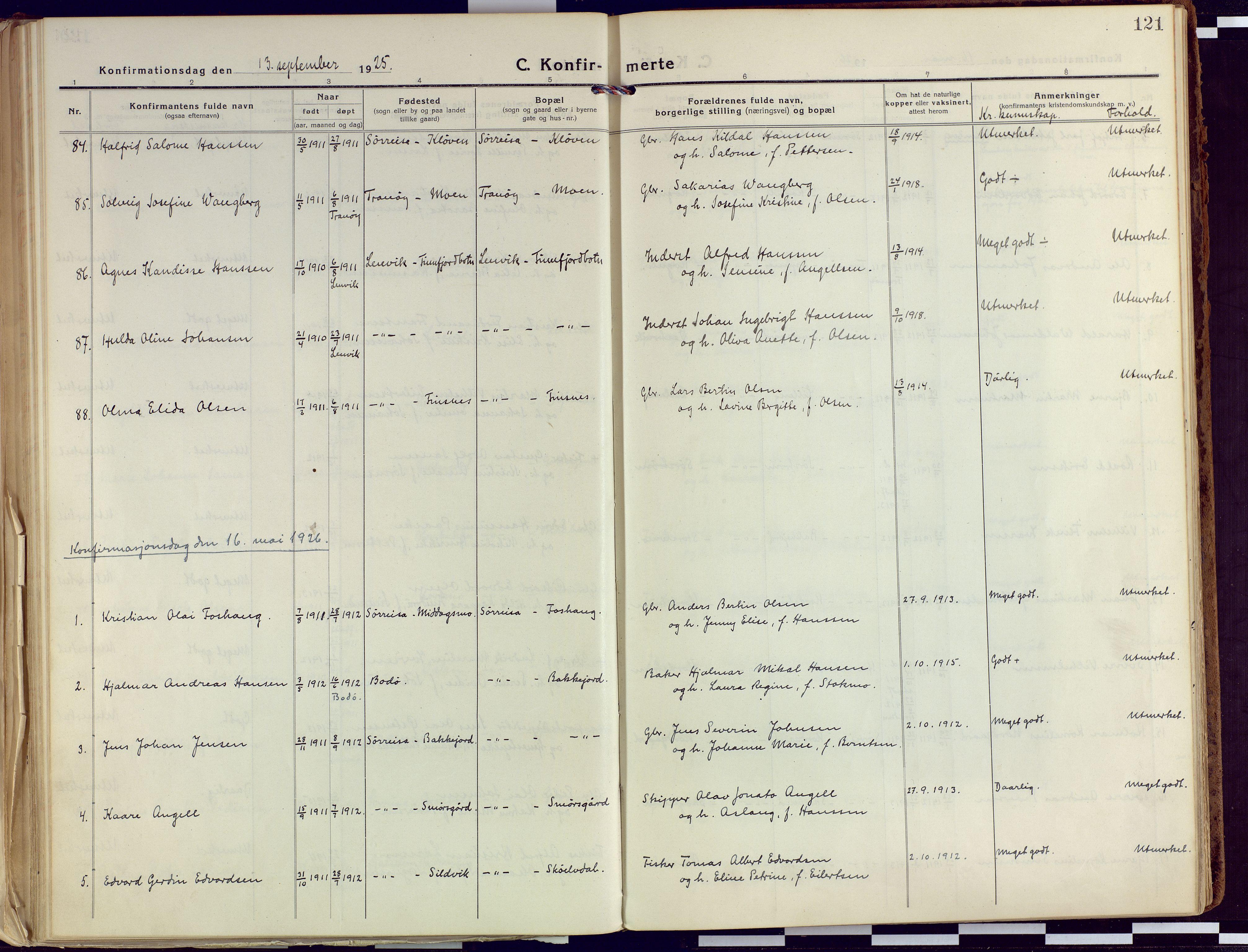 SATØ, Tranøy sokneprestkontor, I/Ia/Iaa/L0015kirke: Ministerialbok nr. 15, 1919-1928, s. 121
