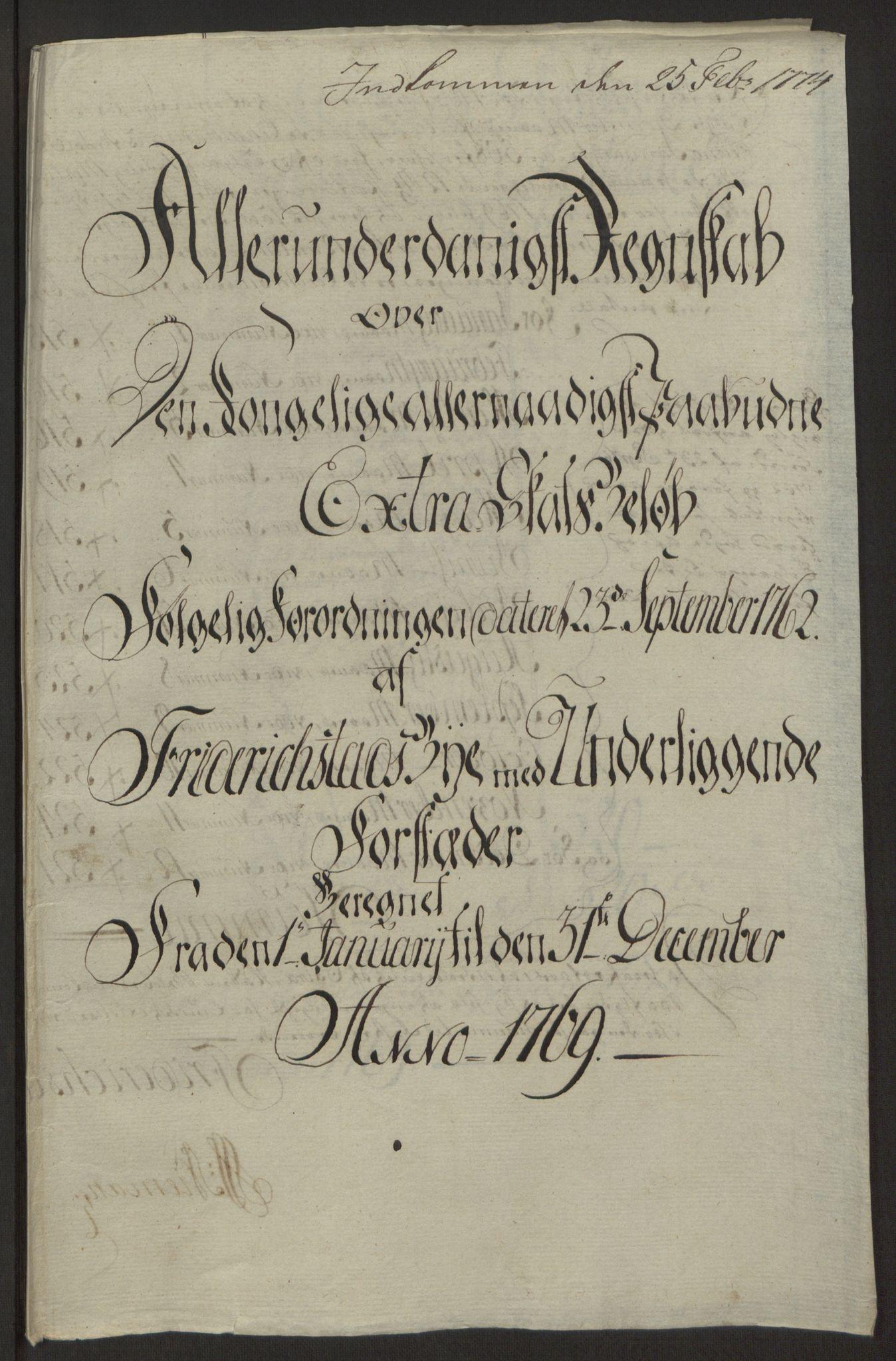 RA, Rentekammeret inntil 1814, Reviderte regnskaper, Byregnskaper, R/Rb/L0029: [B3] Kontribusjonsregnskap, 1762-1772, s. 307