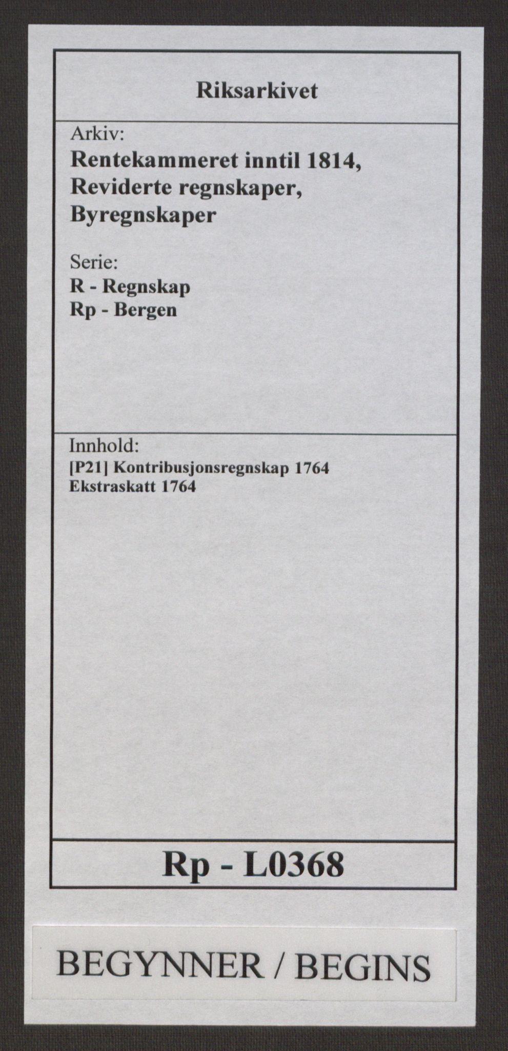 RA, Rentekammeret inntil 1814, Reviderte regnskaper, Byregnskaper, R/Rp/L0368: [P21] Kontribusjonsregnskap, 1764, s. 1