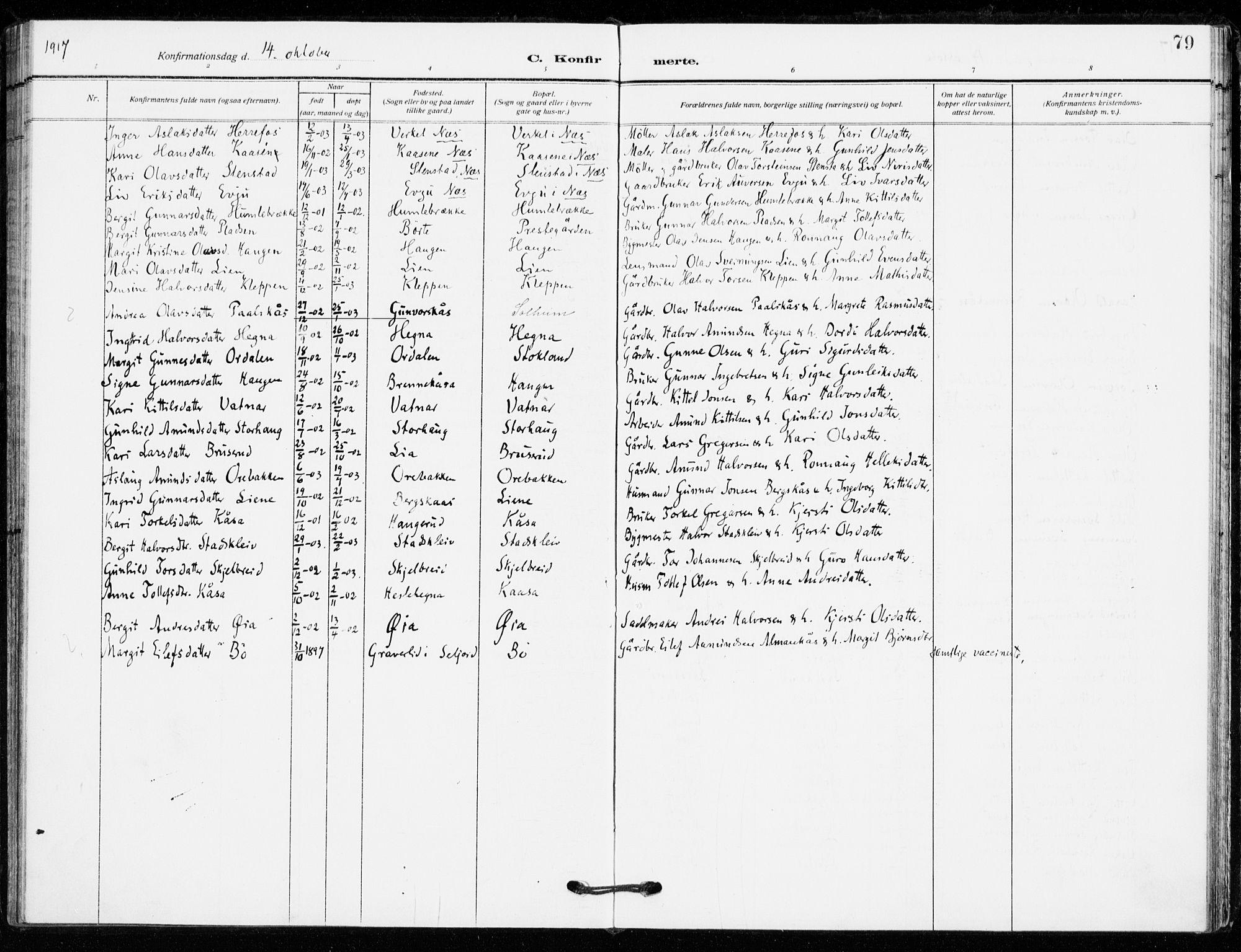 SAKO, Bø kirkebøker, F/Fa/L0013: Ministerialbok nr. 13, 1909-1921, s. 79
