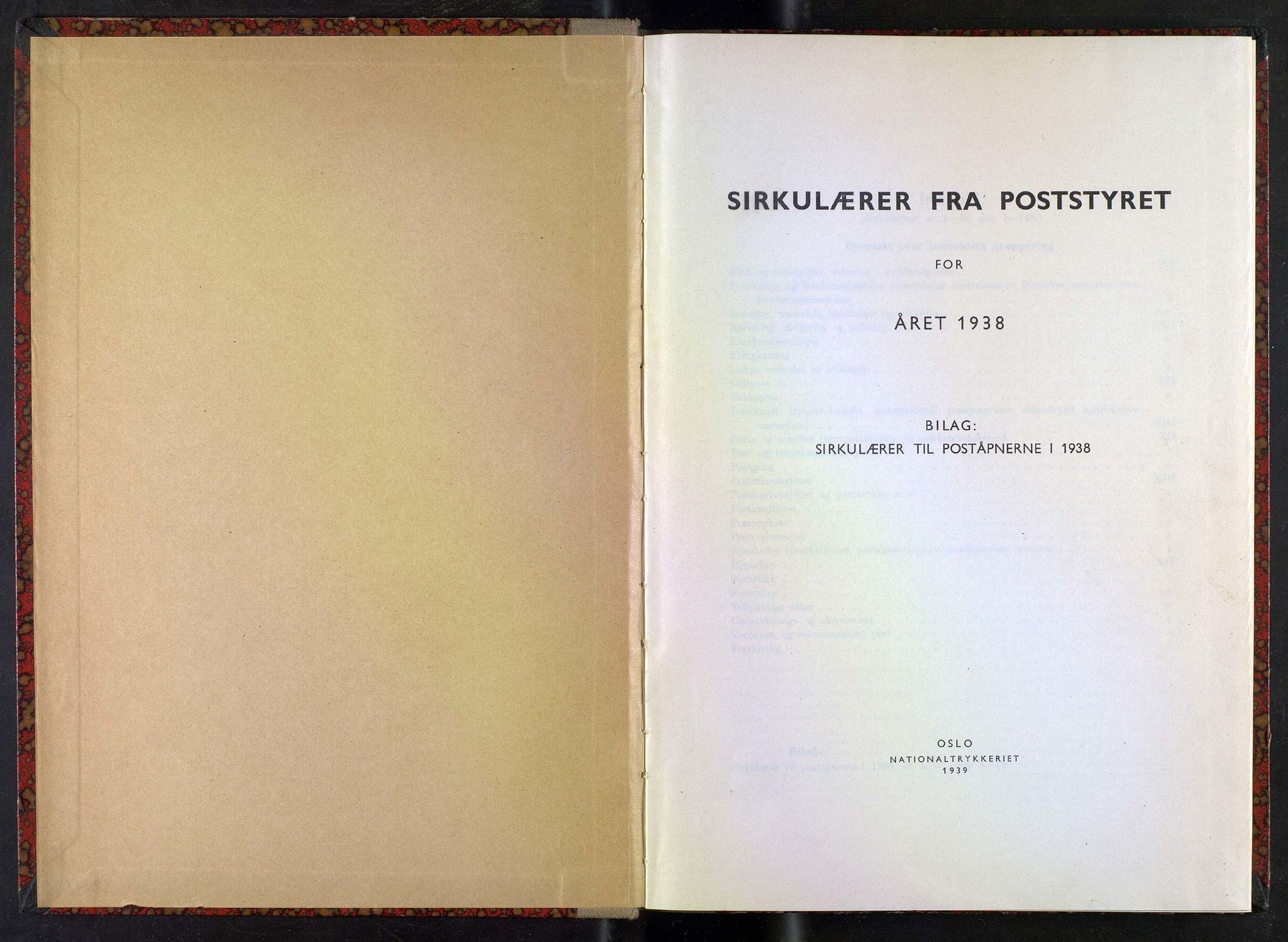 NOPO, Norges Postmuseums bibliotek, -/-: Sirkulærer fra Poststyret, 1938