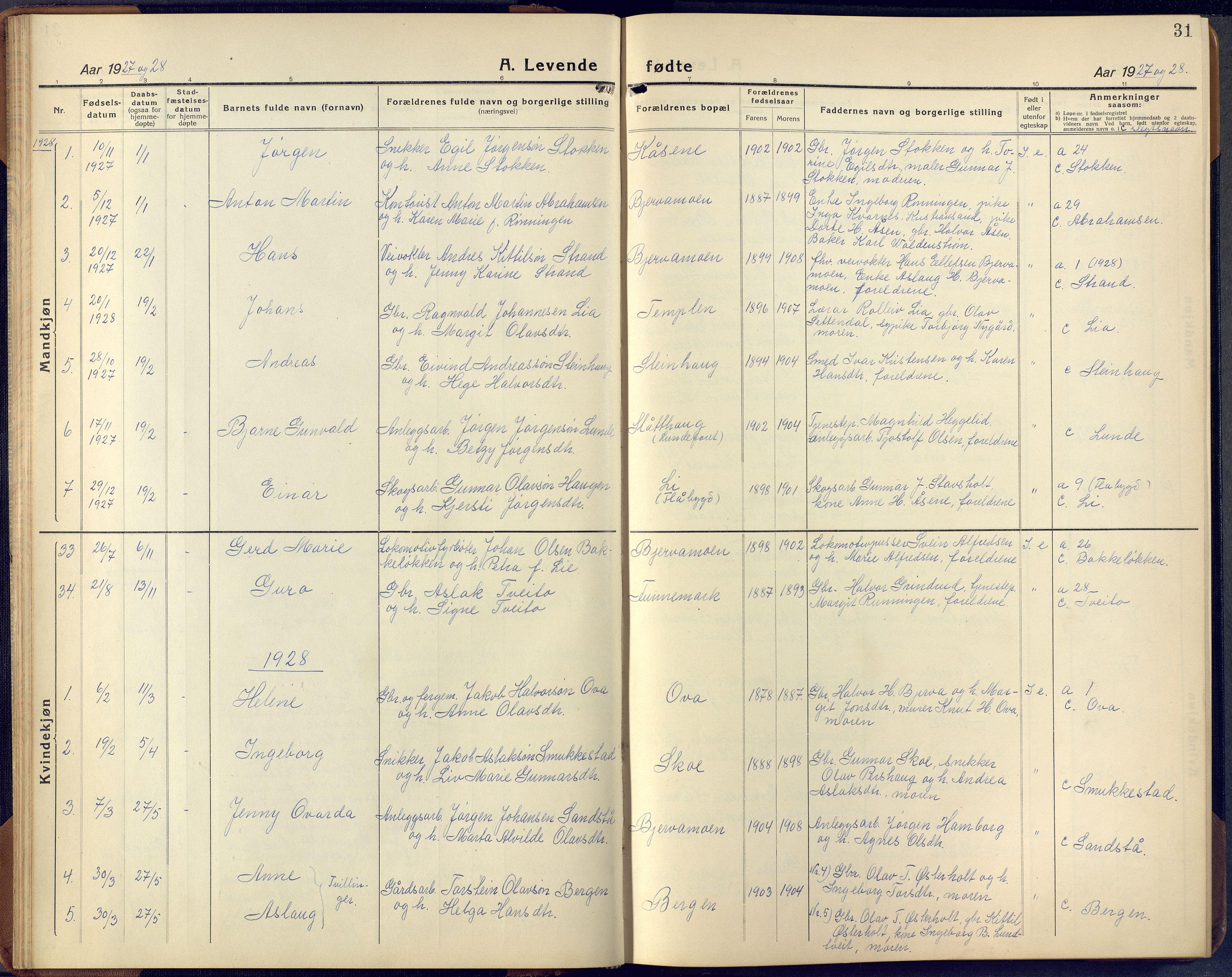 SAKO, Lunde kirkebøker, F/Fa/L0006: Ministerialbok nr. I 6, 1922-1940, s. 31