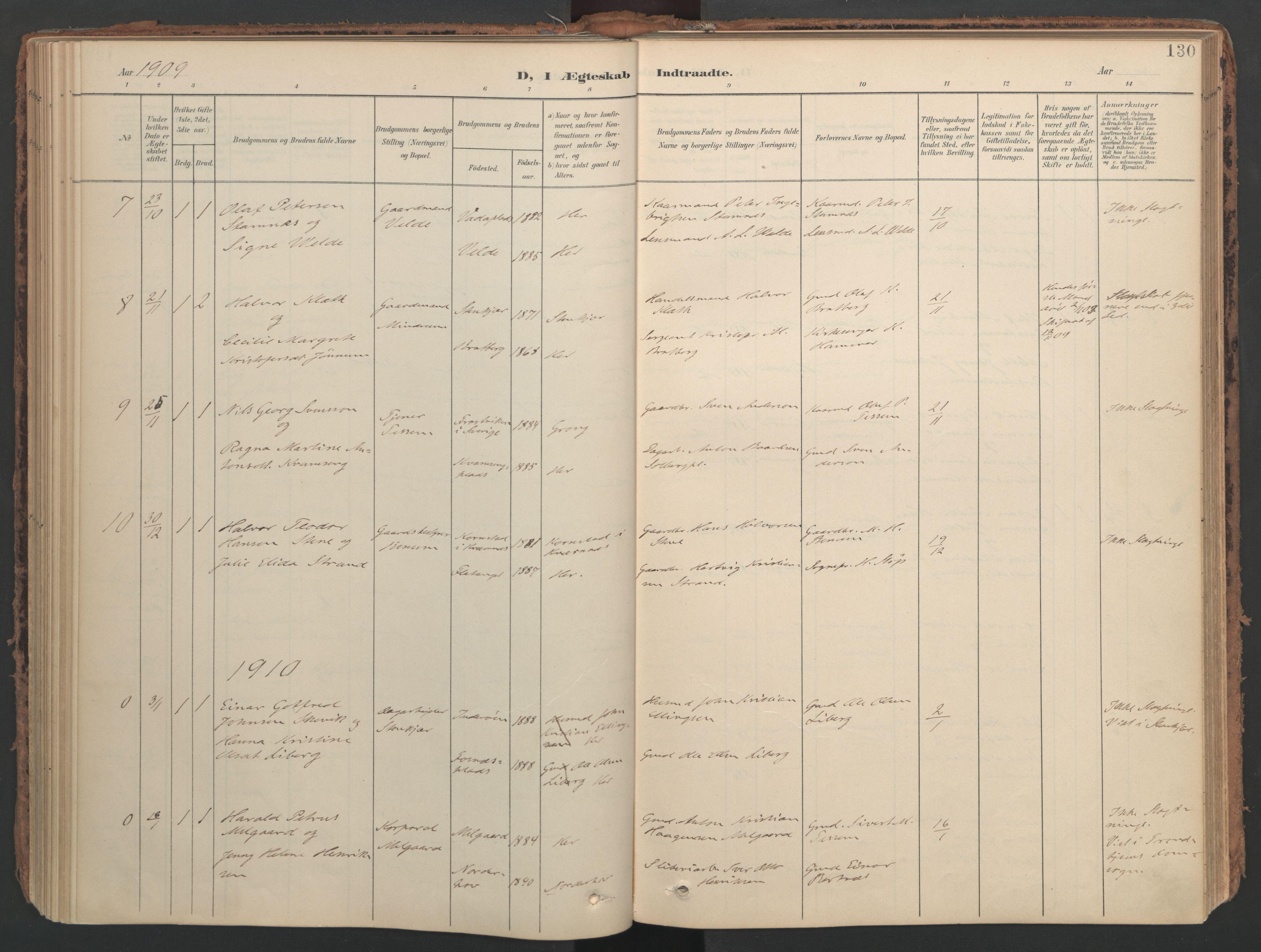 SAT, Ministerialprotokoller, klokkerbøker og fødselsregistre - Nord-Trøndelag, 741/L0397: Ministerialbok nr. 741A11, 1901-1911, s. 130