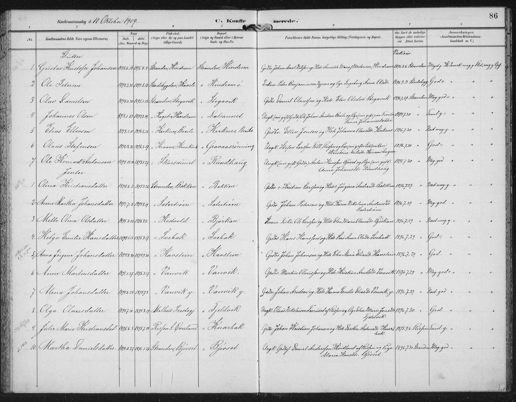 SAT, Ministerialprotokoller, klokkerbøker og fødselsregistre - Nord-Trøndelag, 702/L0024: Ministerialbok nr. 702A02, 1898-1914, s. 86