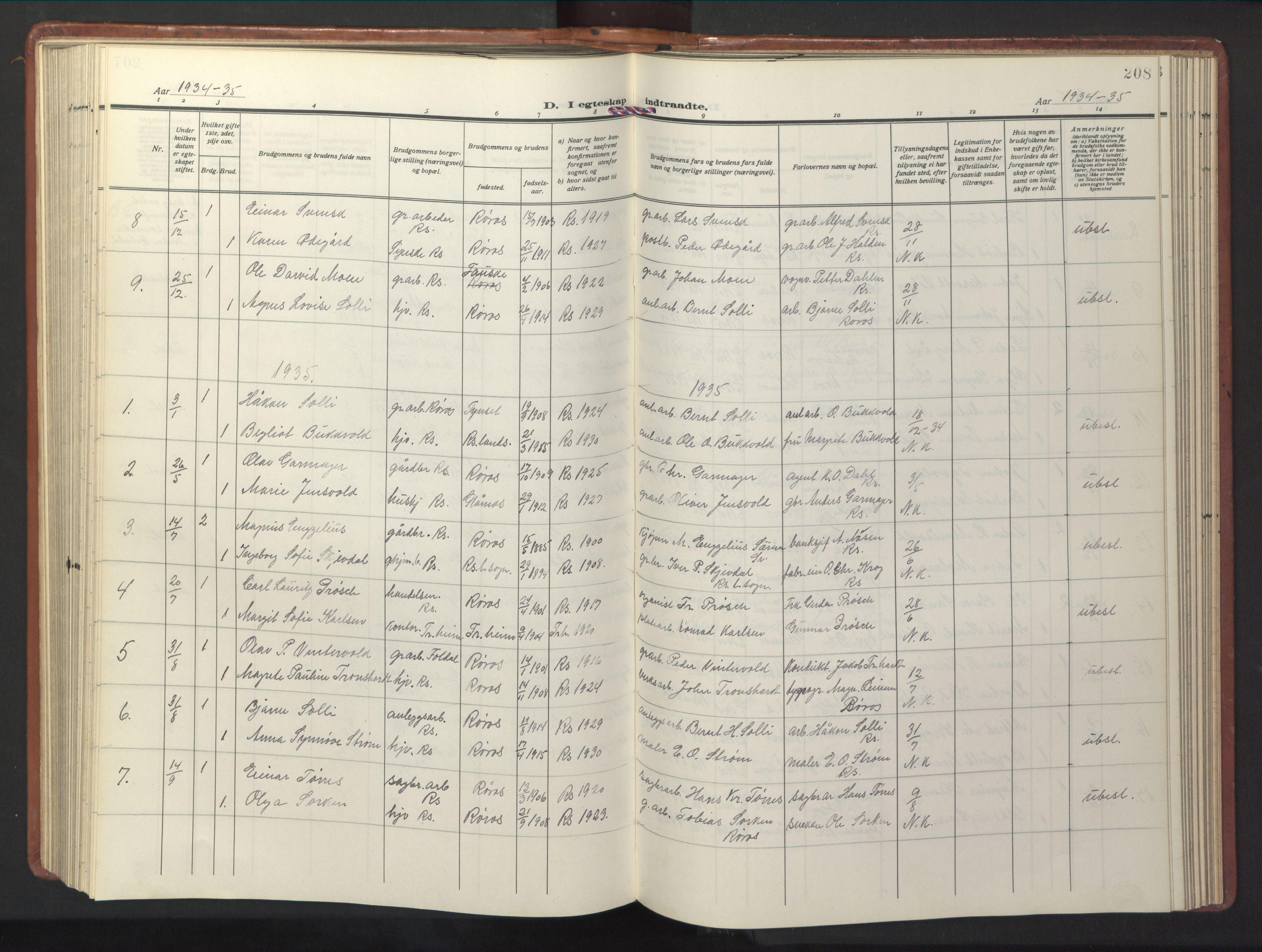 SAT, Ministerialprotokoller, klokkerbøker og fødselsregistre - Sør-Trøndelag, 681/L0943: Klokkerbok nr. 681C07, 1926-1954, s. 208