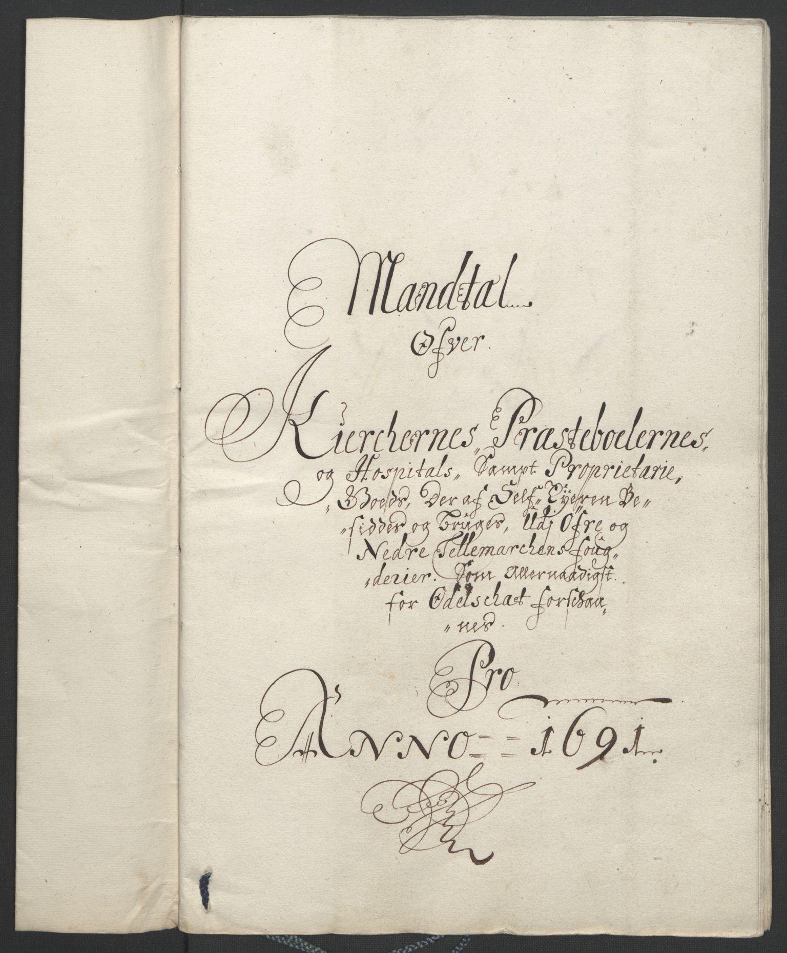 RA, Rentekammeret inntil 1814, Reviderte regnskaper, Fogderegnskap, R35/L2091: Fogderegnskap Øvre og Nedre Telemark, 1690-1693, s. 116