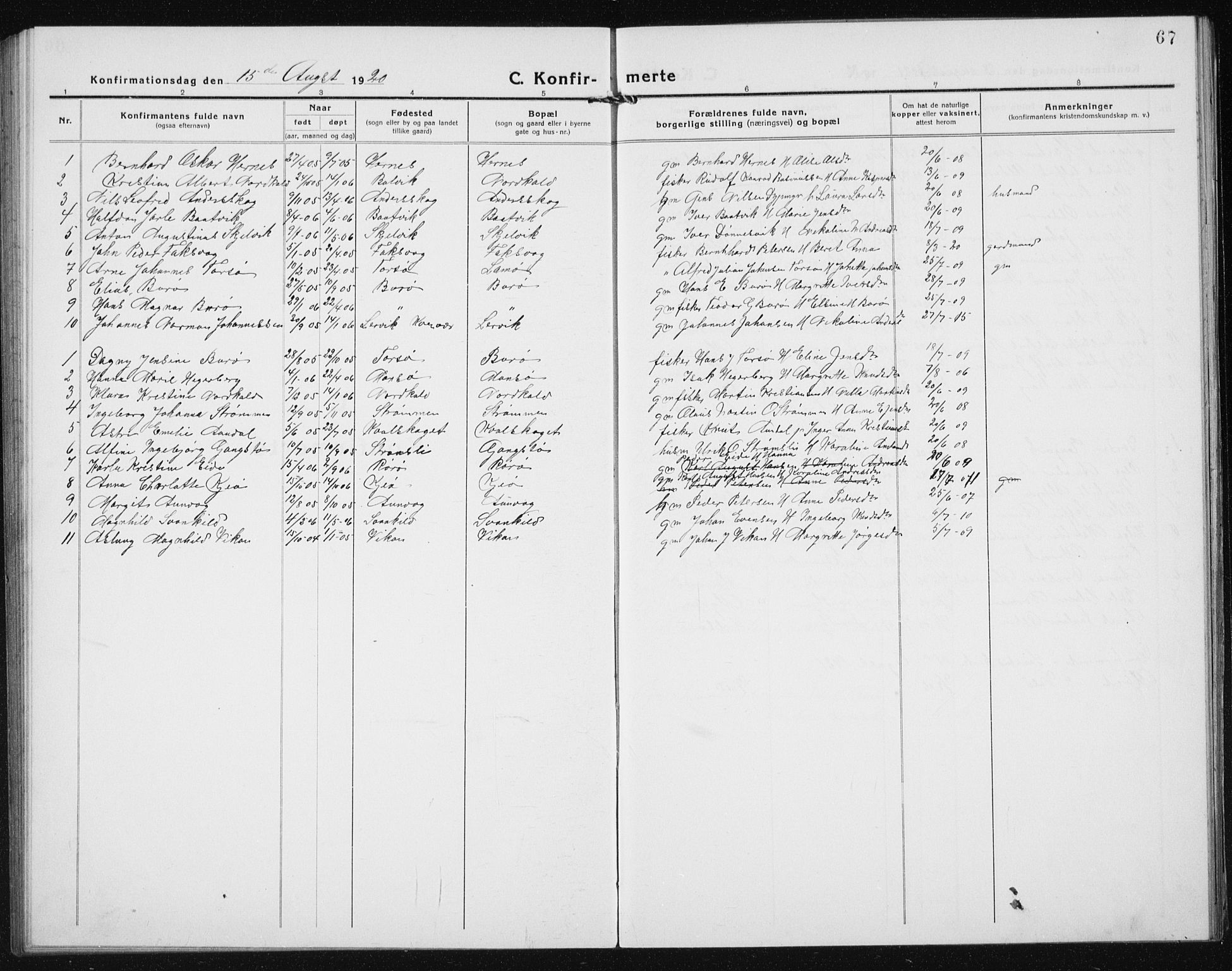 SAT, Ministerialprotokoller, klokkerbøker og fødselsregistre - Sør-Trøndelag, 635/L0554: Klokkerbok nr. 635C02, 1919-1942, s. 67
