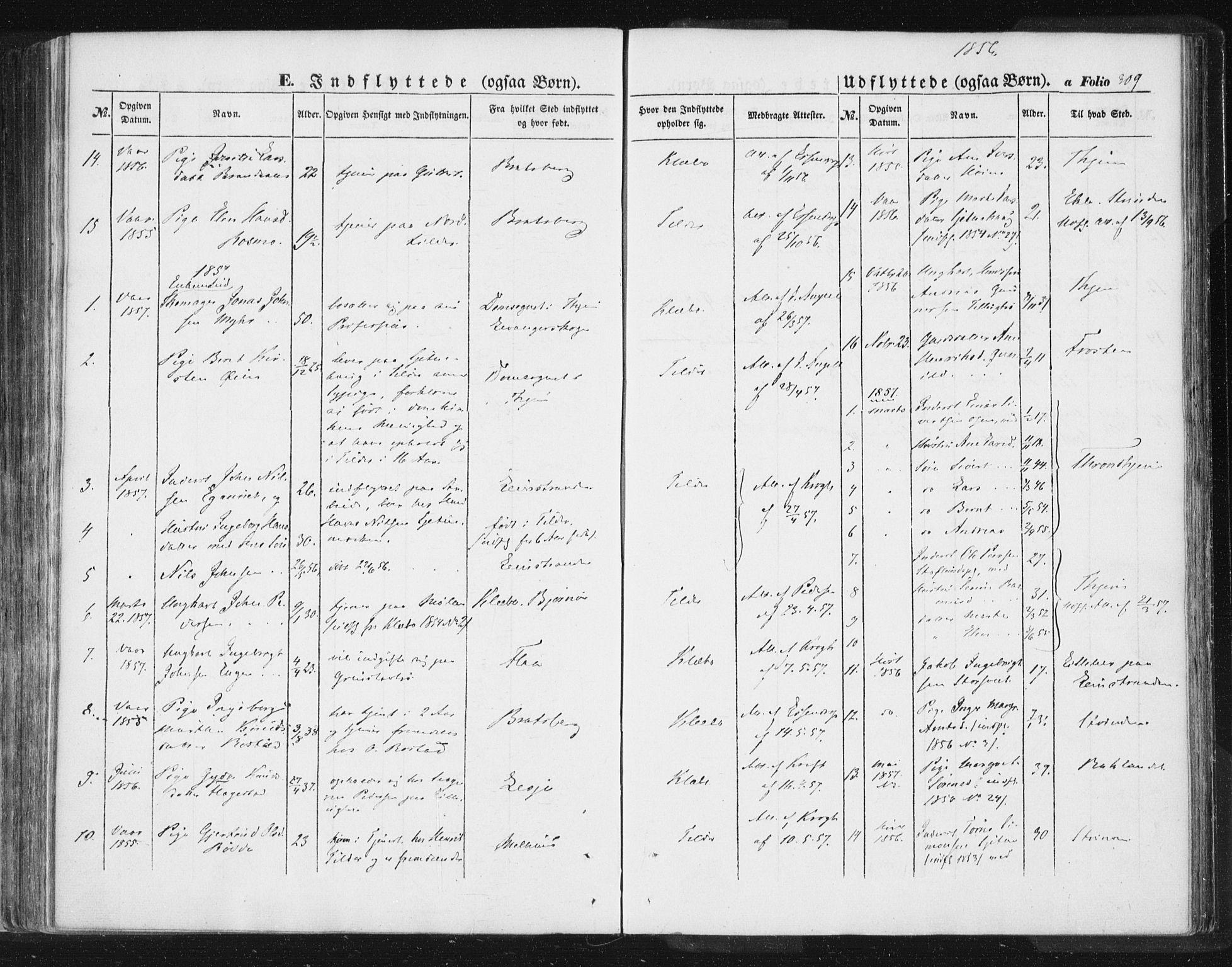 SAT, Ministerialprotokoller, klokkerbøker og fødselsregistre - Sør-Trøndelag, 618/L0441: Ministerialbok nr. 618A05, 1843-1862, s. 309