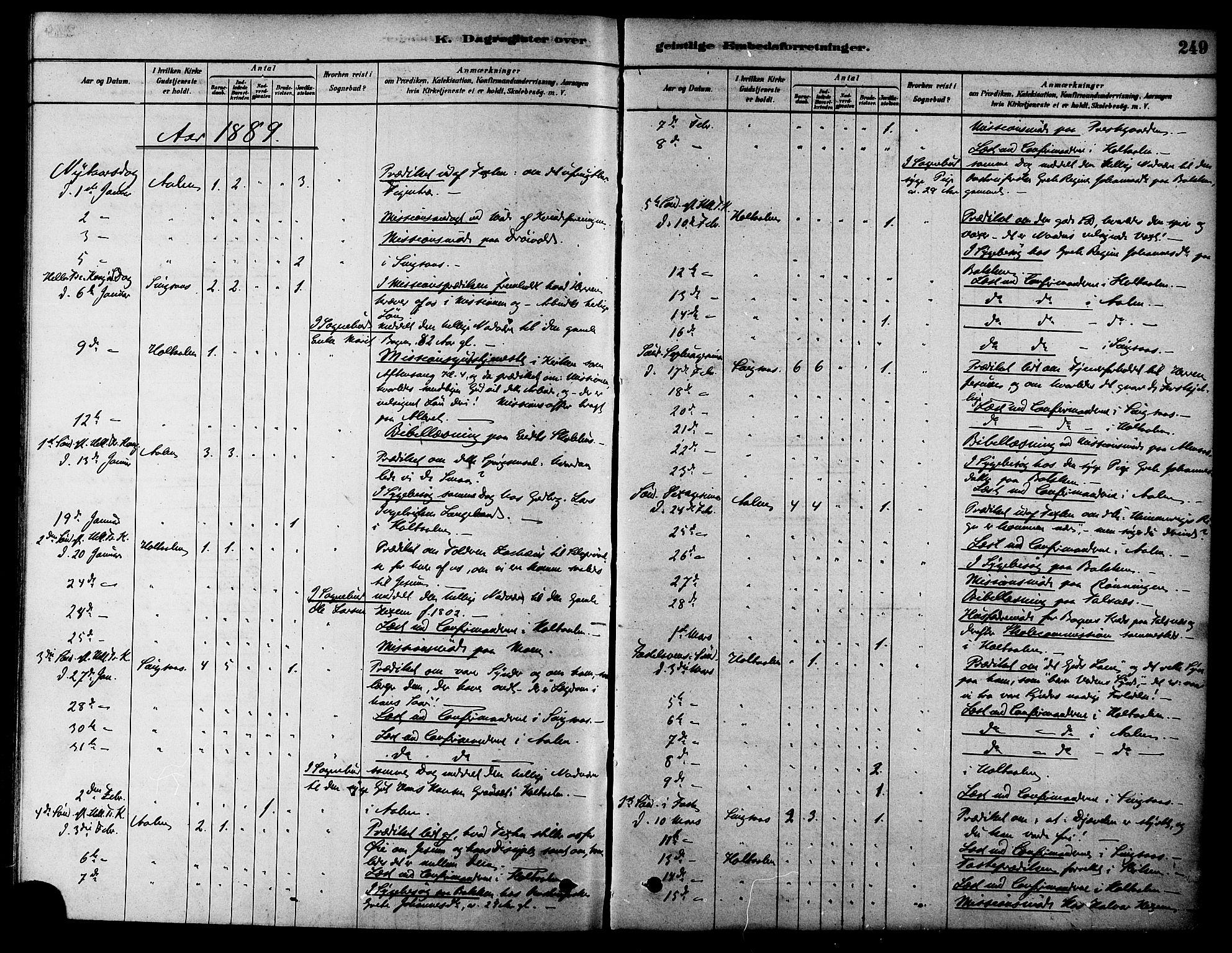 SAT, Ministerialprotokoller, klokkerbøker og fødselsregistre - Sør-Trøndelag, 686/L0983: Ministerialbok nr. 686A01, 1879-1890, s. 249