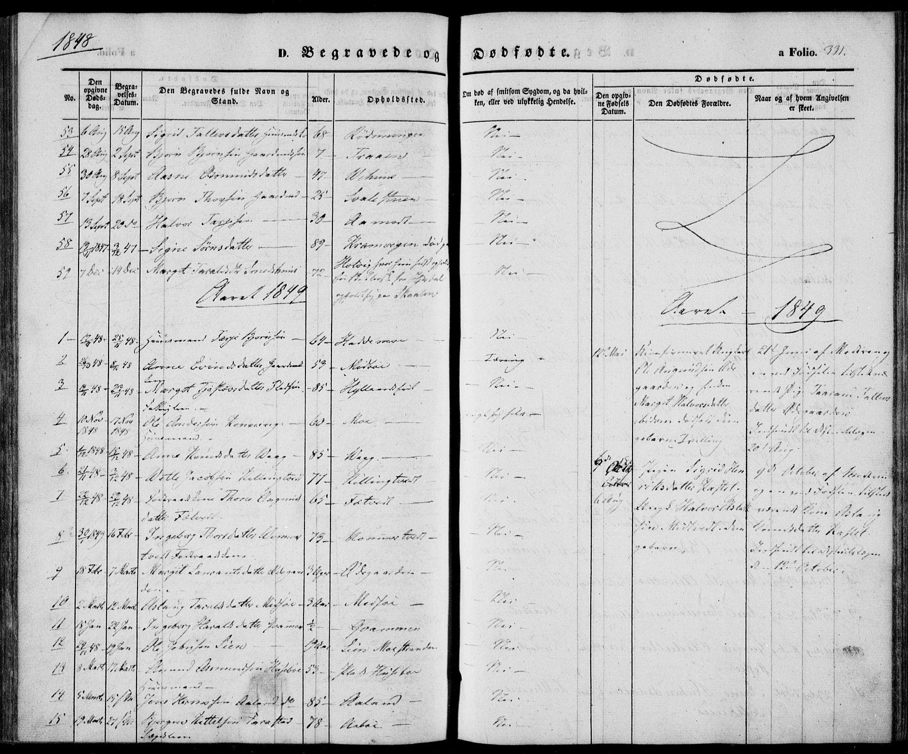 SAKO, Vinje kirkebøker, F/Fa/L0004: Ministerialbok nr. I 4, 1843-1869, s. 331