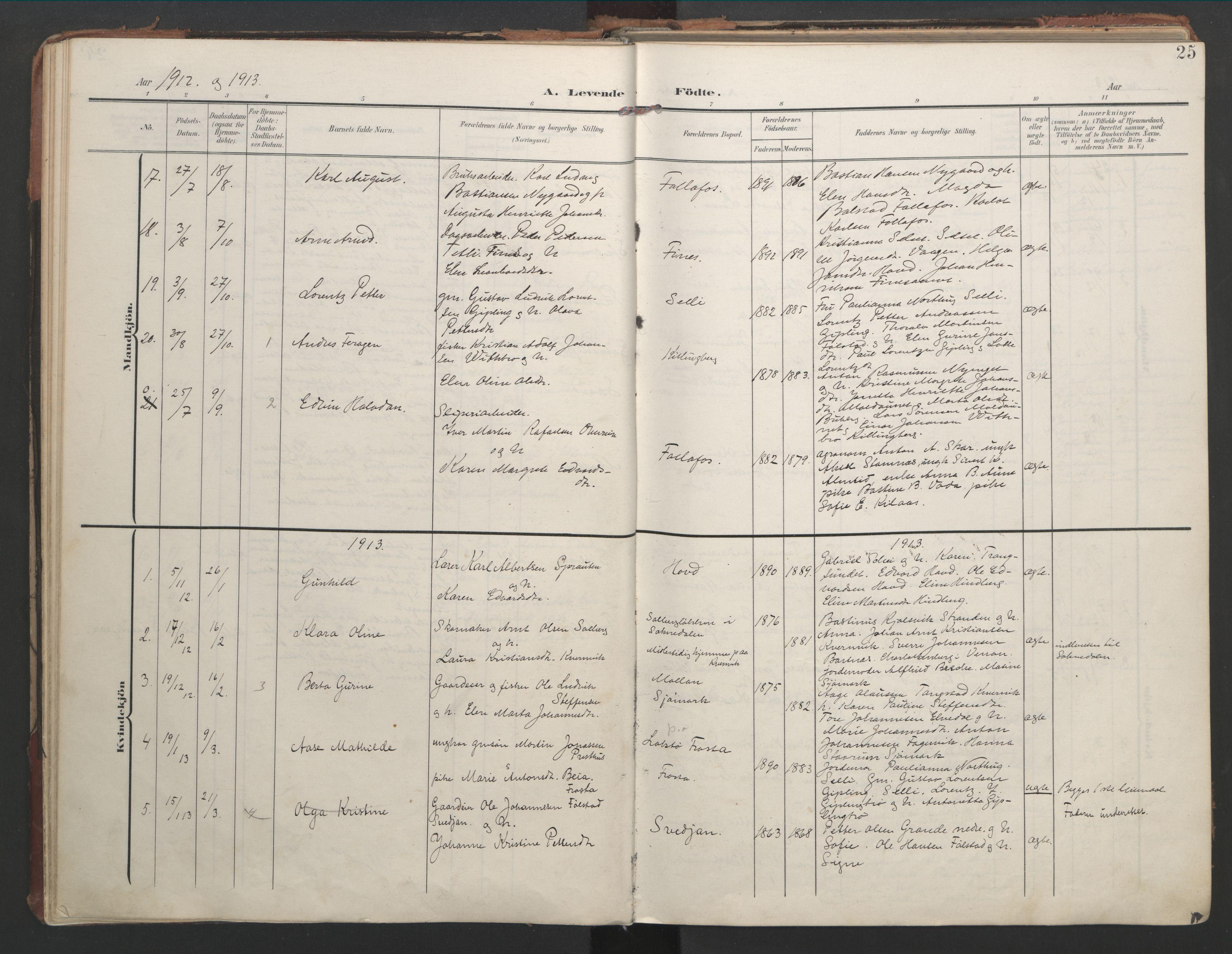 SAT, Ministerialprotokoller, klokkerbøker og fødselsregistre - Nord-Trøndelag, 744/L0421: Ministerialbok nr. 744A05, 1905-1930, s. 25