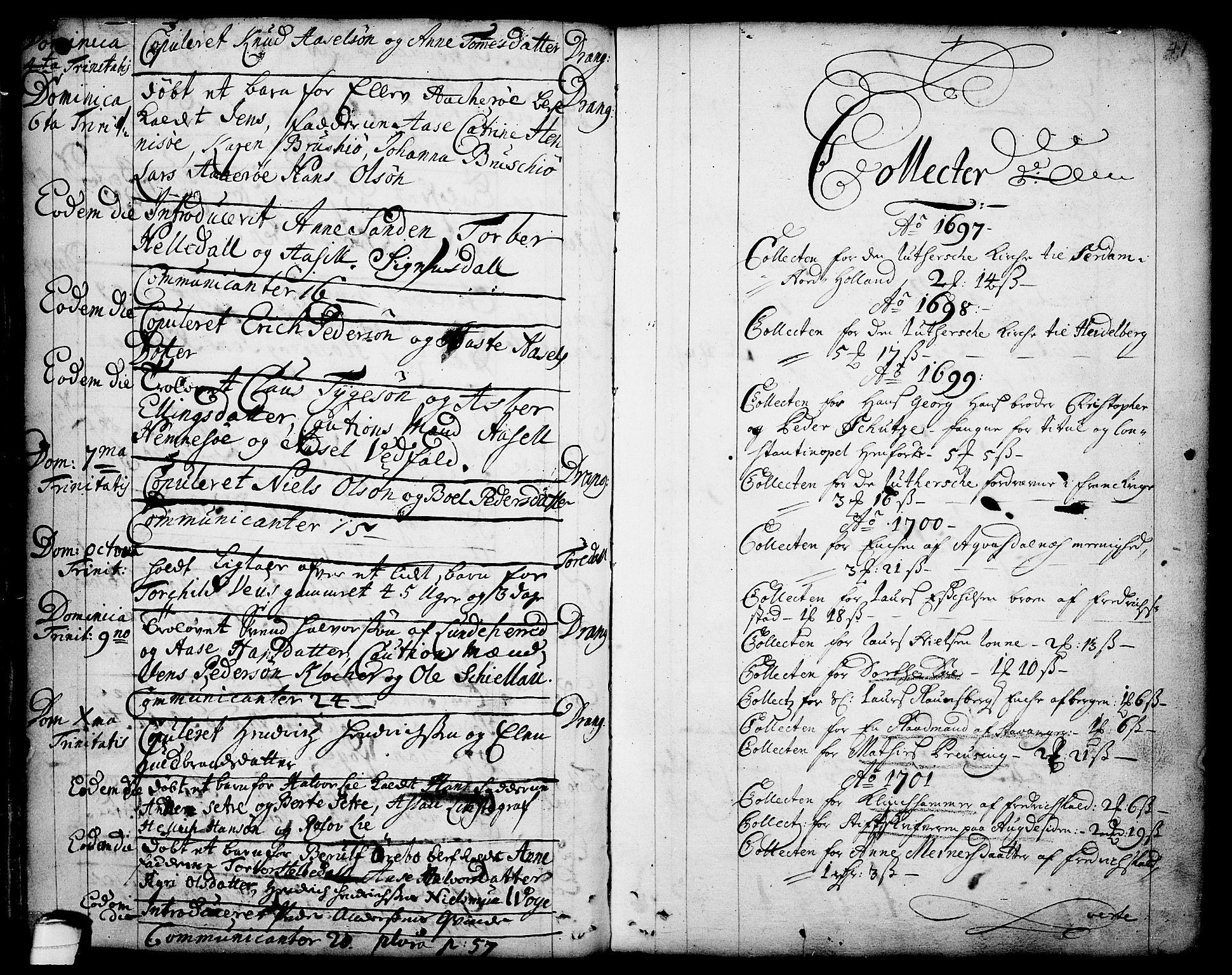 SAKO, Drangedal kirkebøker, F/Fa/L0001: Ministerialbok nr. 1, 1697-1767, s. 41