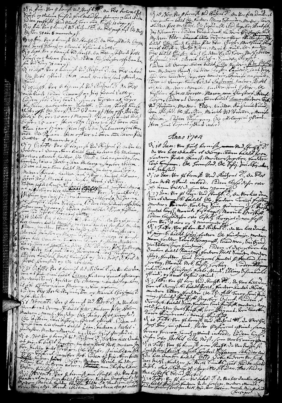 SAT, Ministerialprotokoller, klokkerbøker og fødselsregistre - Sør-Trøndelag, 646/L0603: Ministerialbok nr. 646A01, 1700-1734, s. 13