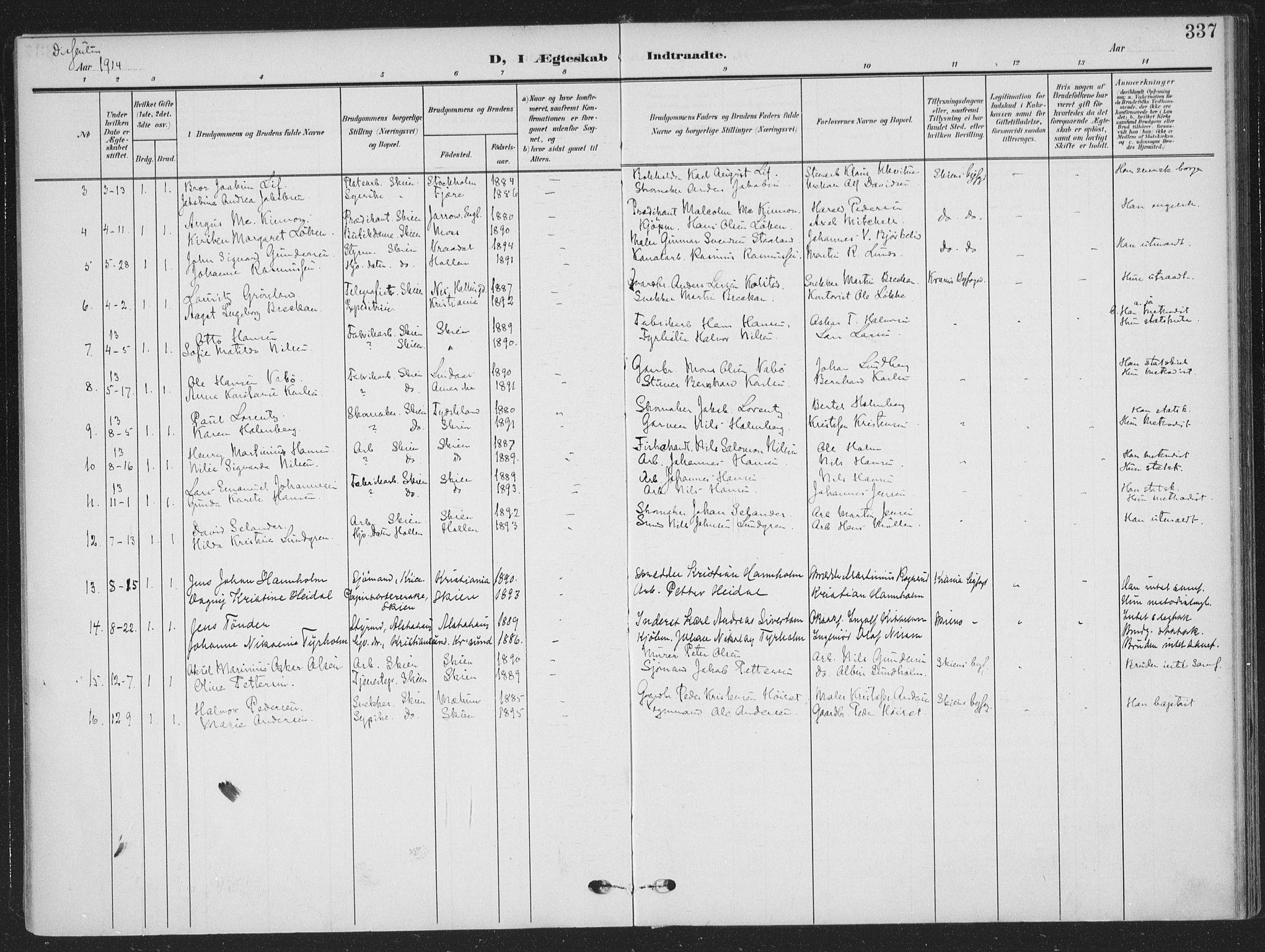 SAKO, Skien kirkebøker, F/Fa/L0012: Ministerialbok nr. 12, 1908-1914, s. 337