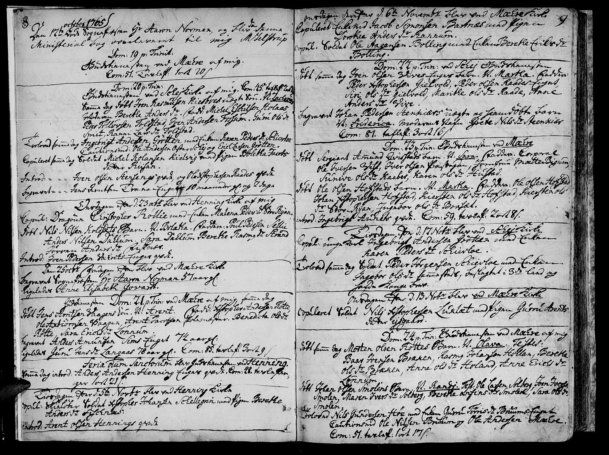 SAT, Ministerialprotokoller, klokkerbøker og fødselsregistre - Nord-Trøndelag, 735/L0331: Ministerialbok nr. 735A02, 1762-1794, s. 8-9