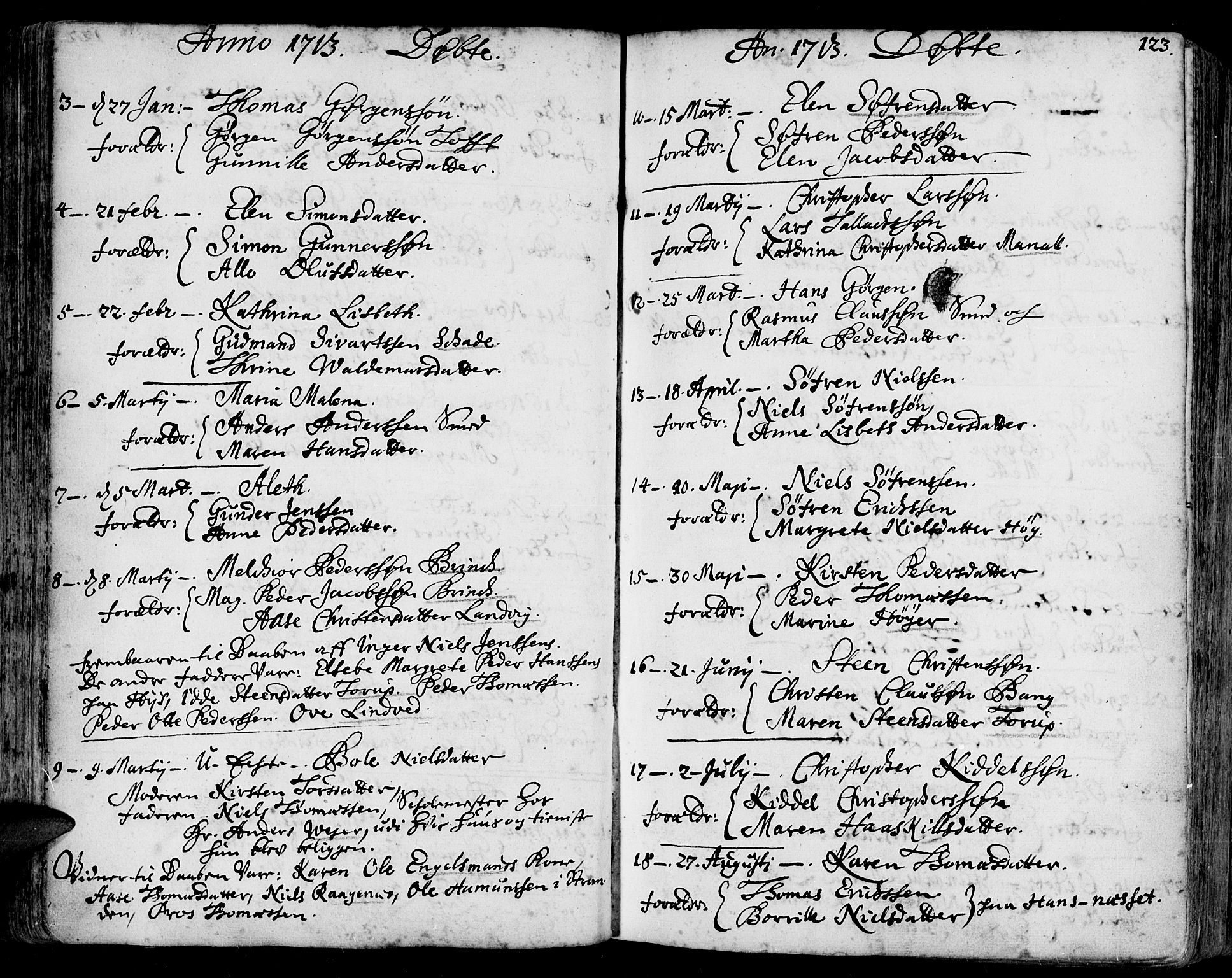 SAK, Arendal sokneprestkontor, Trefoldighet, F/Fa/L0001: Ministerialbok nr. A 1, 1703-1815, s. 123
