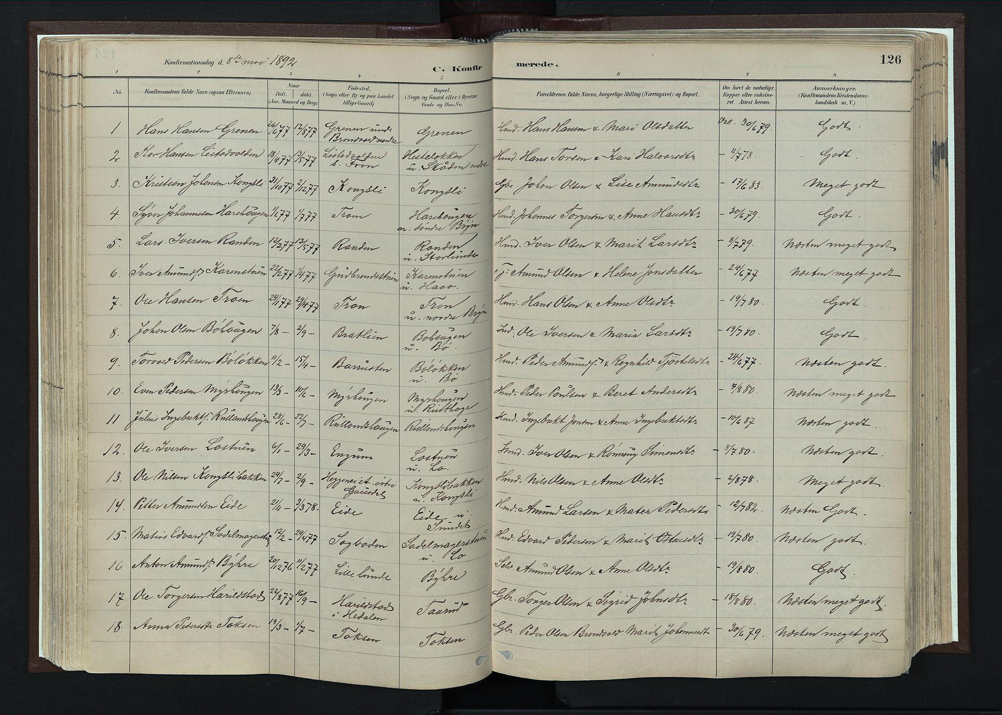 SAH, Nord-Fron prestekontor, Ministerialbok nr. 4, 1884-1914, s. 126