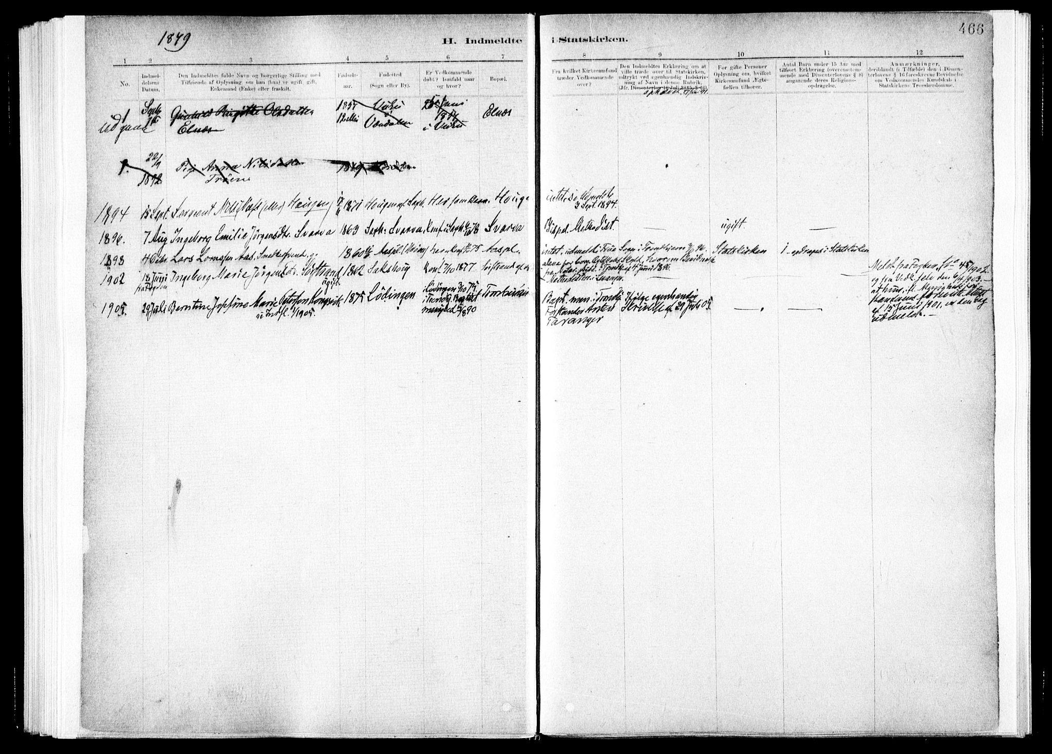 SAT, Ministerialprotokoller, klokkerbøker og fødselsregistre - Nord-Trøndelag, 730/L0285: Ministerialbok nr. 730A10, 1879-1914, s. 466