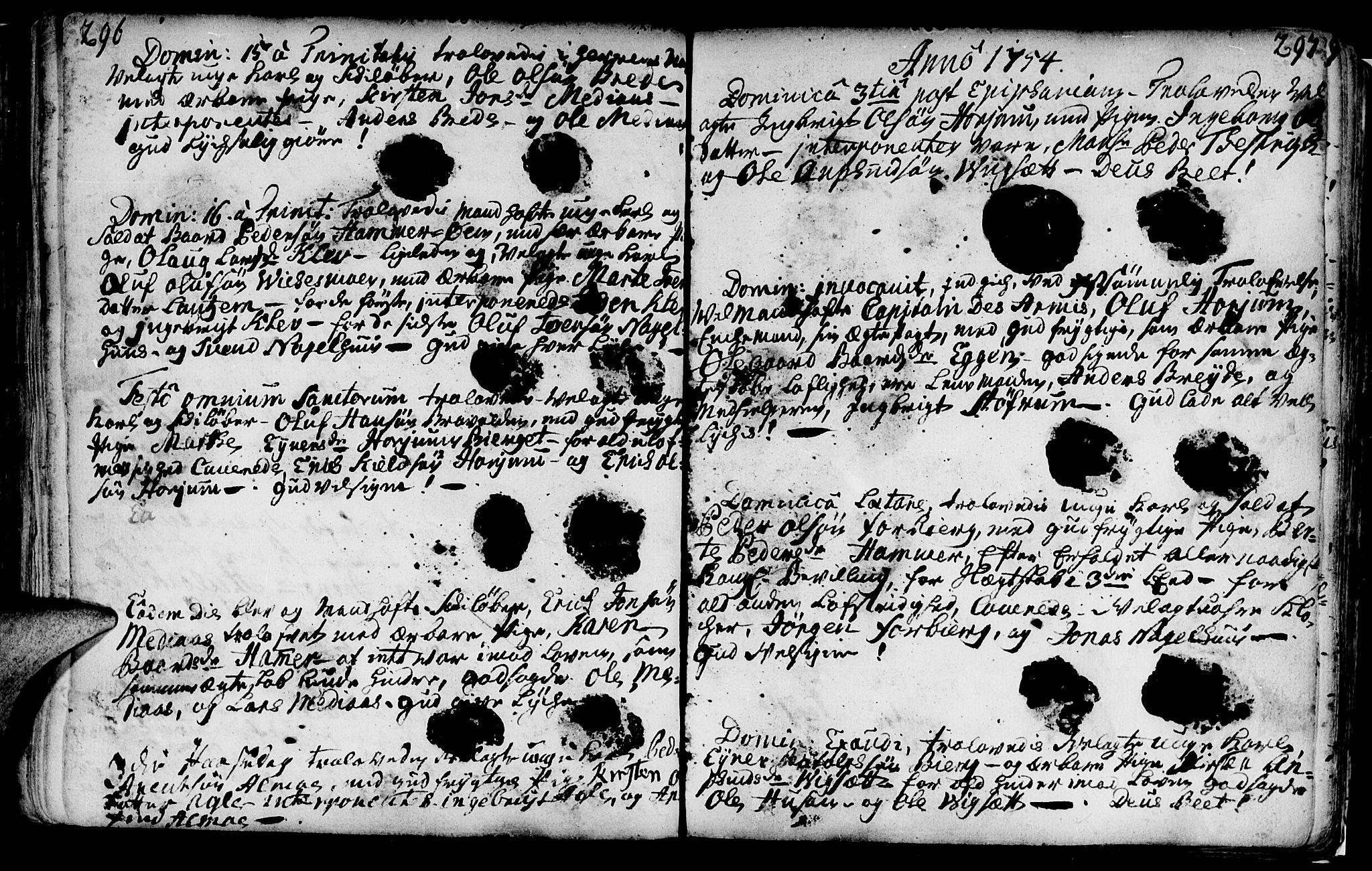SAT, Ministerialprotokoller, klokkerbøker og fødselsregistre - Nord-Trøndelag, 749/L0467: Ministerialbok nr. 749A01, 1733-1787, s. 296-297