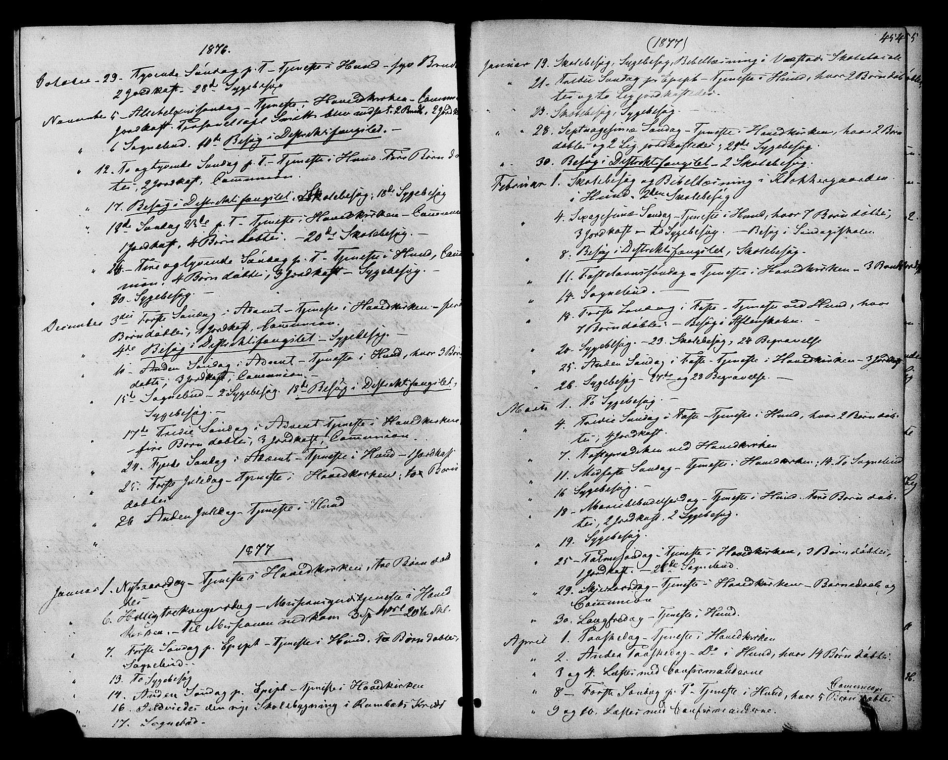SAH, Vardal prestekontor, H/Ha/Haa/L0007: Ministerialbok nr. 7, 1867-1878, s. 454