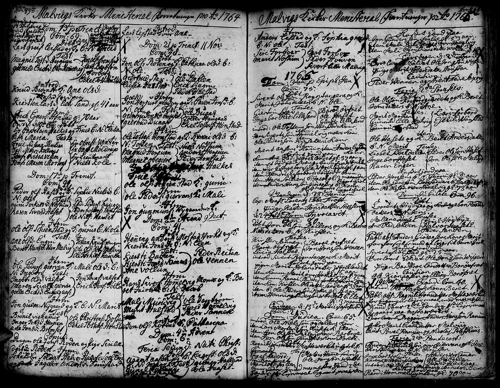 SAT, Ministerialprotokoller, klokkerbøker og fødselsregistre - Sør-Trøndelag, 606/L0277: Ministerialbok nr. 606A01 /3, 1727-1780, s. 498-499
