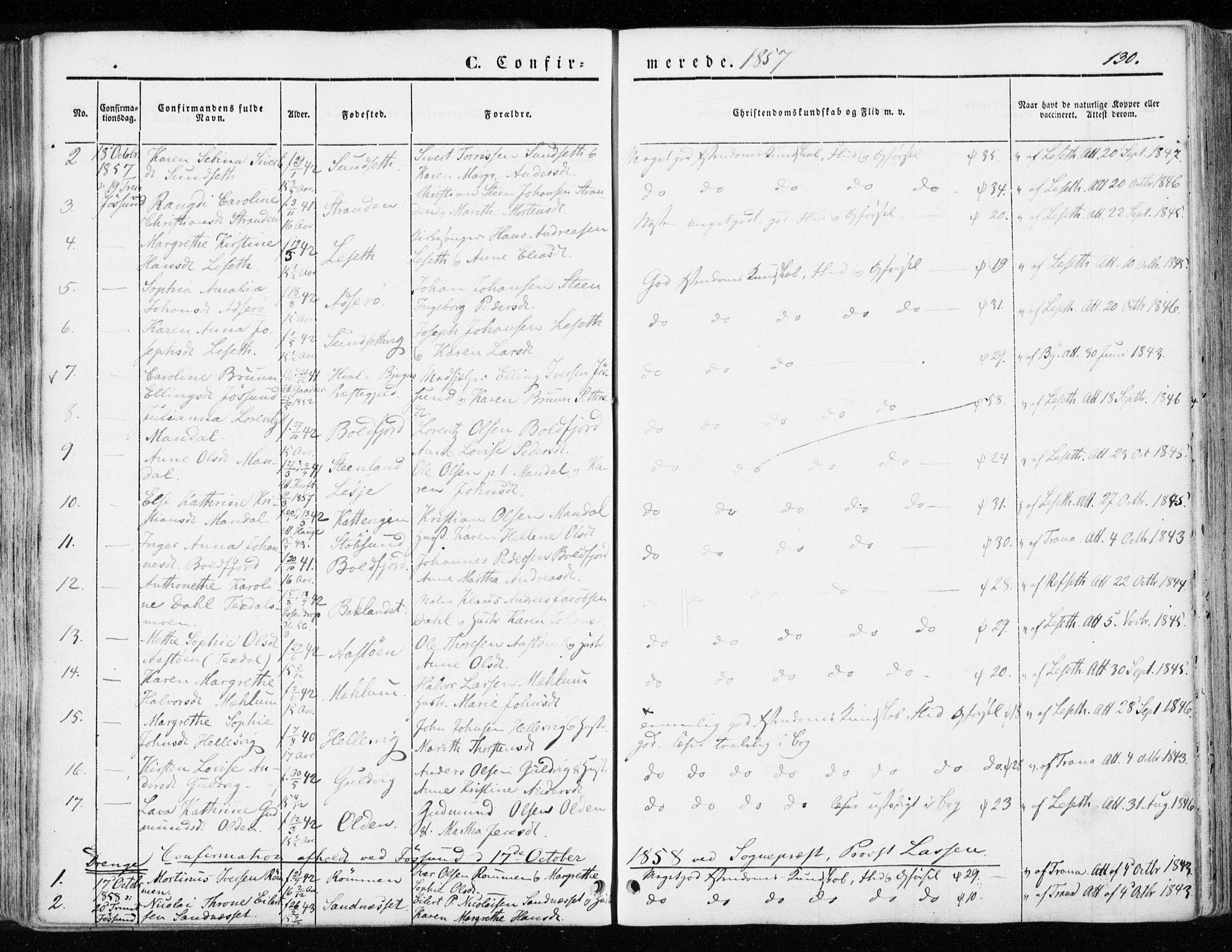 SAT, Ministerialprotokoller, klokkerbøker og fødselsregistre - Sør-Trøndelag, 655/L0677: Ministerialbok nr. 655A06, 1847-1860, s. 130