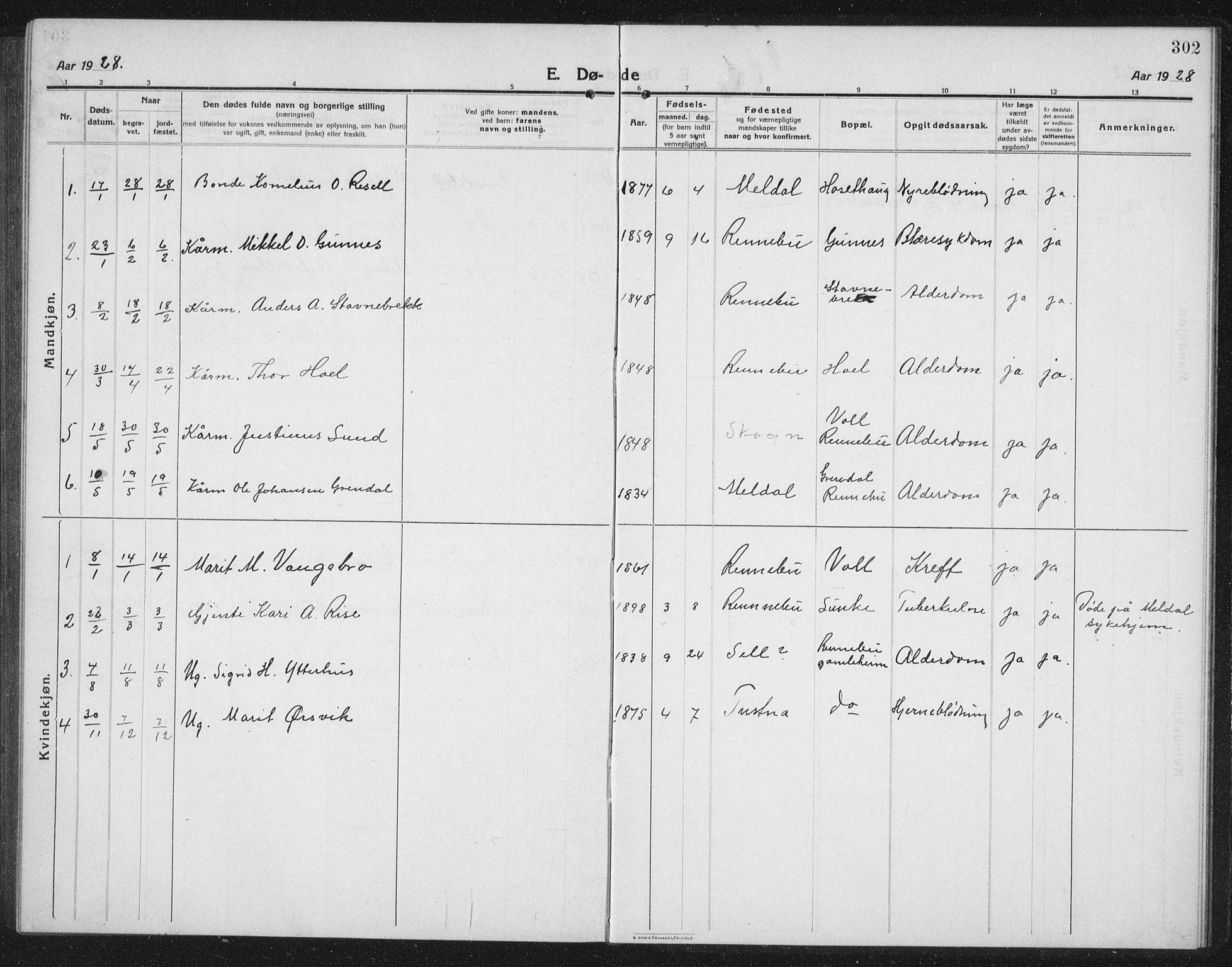 SAT, Ministerialprotokoller, klokkerbøker og fødselsregistre - Sør-Trøndelag, 674/L0877: Klokkerbok nr. 674C04, 1913-1940, s. 302