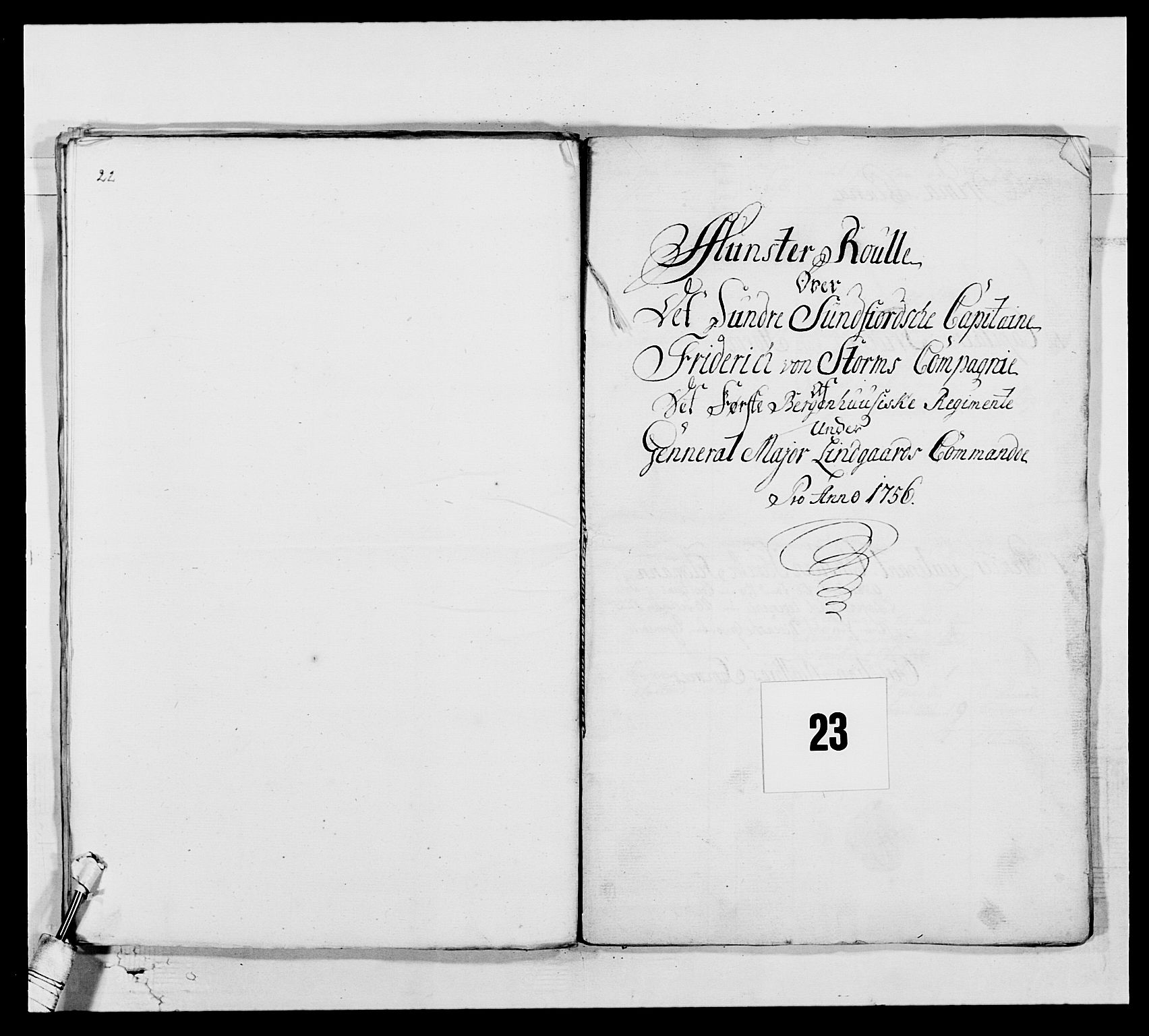 RA, Kommanderende general (KG I) med Det norske krigsdirektorium, E/Ea/L0517: 1. Bergenhusiske regiment, 1742-1756, s. 309