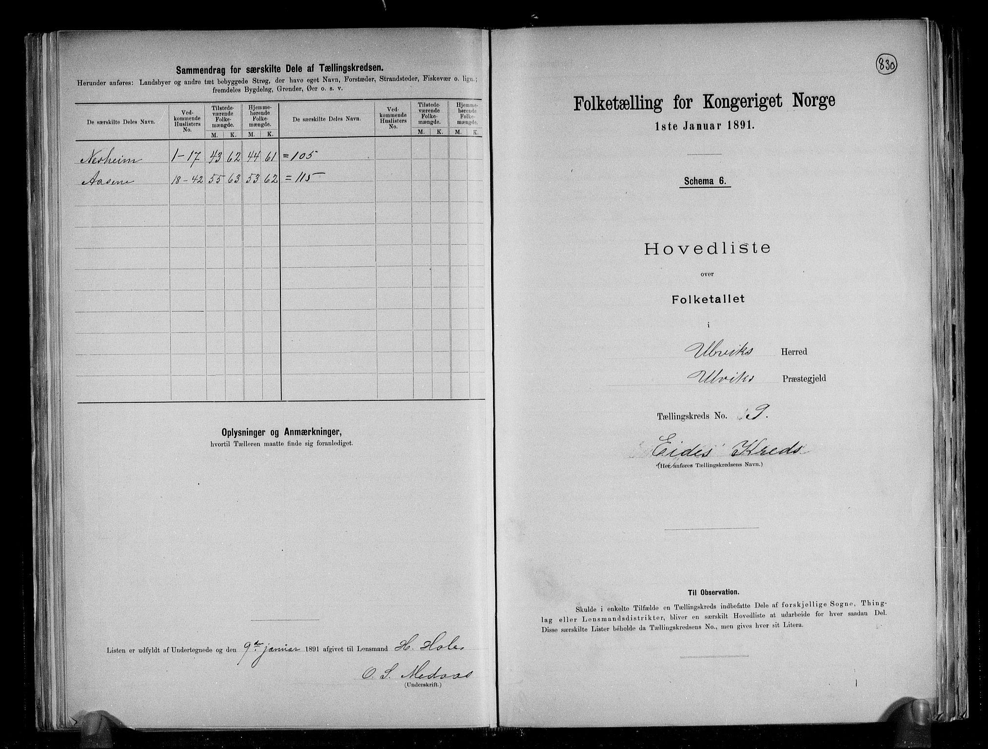 RA, Folketelling 1891 for 1233 Ulvik herred, 1891, s. 25