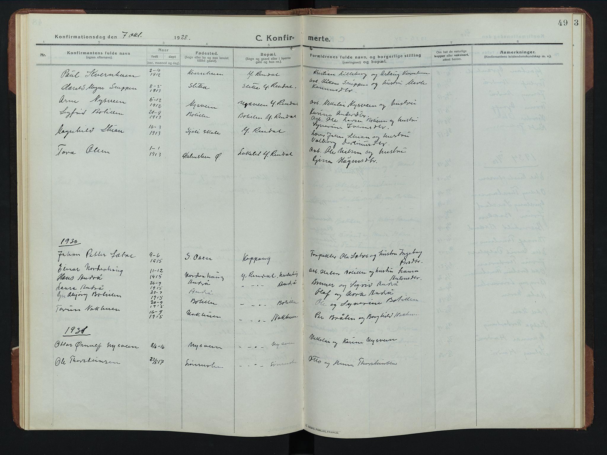 SAH, Rendalen prestekontor, H/Ha/Hab/L0008: Klokkerbok nr. 8, 1914-1948, s. 49