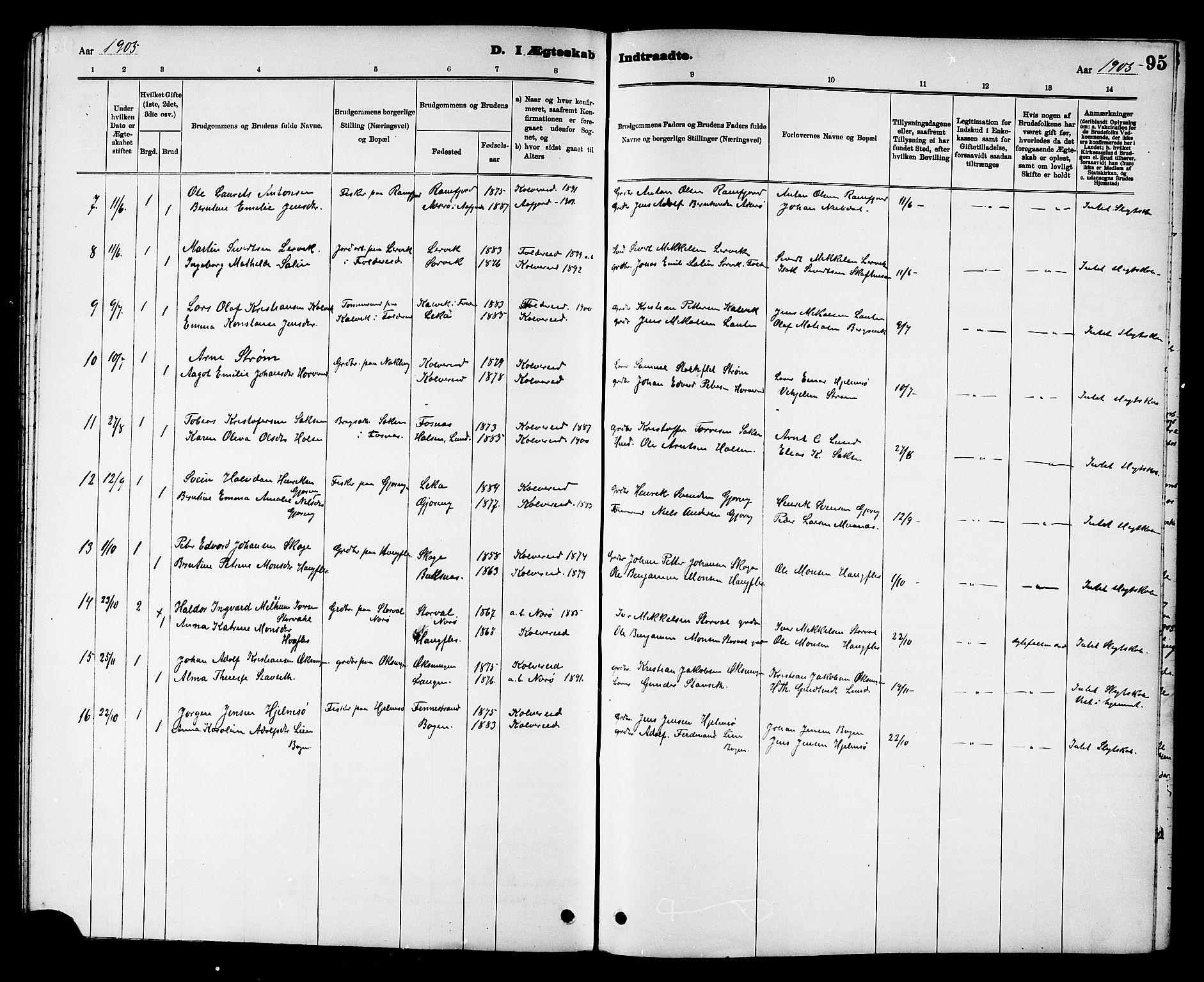 SAT, Ministerialprotokoller, klokkerbøker og fødselsregistre - Nord-Trøndelag, 780/L0652: Klokkerbok nr. 780C04, 1899-1911, s. 95