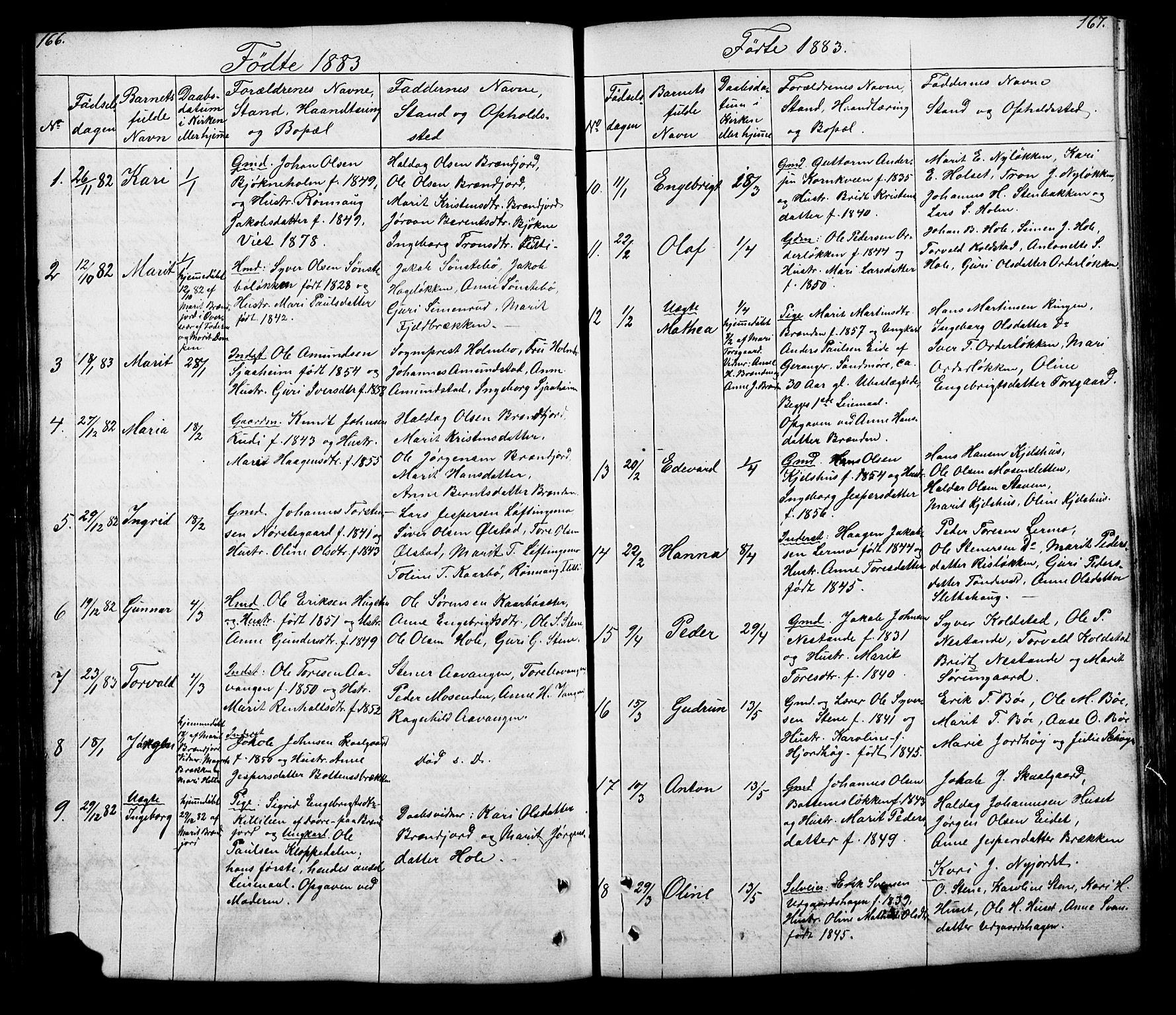 SAH, Lesja prestekontor, Klokkerbok nr. 5, 1850-1894, s. 166-167